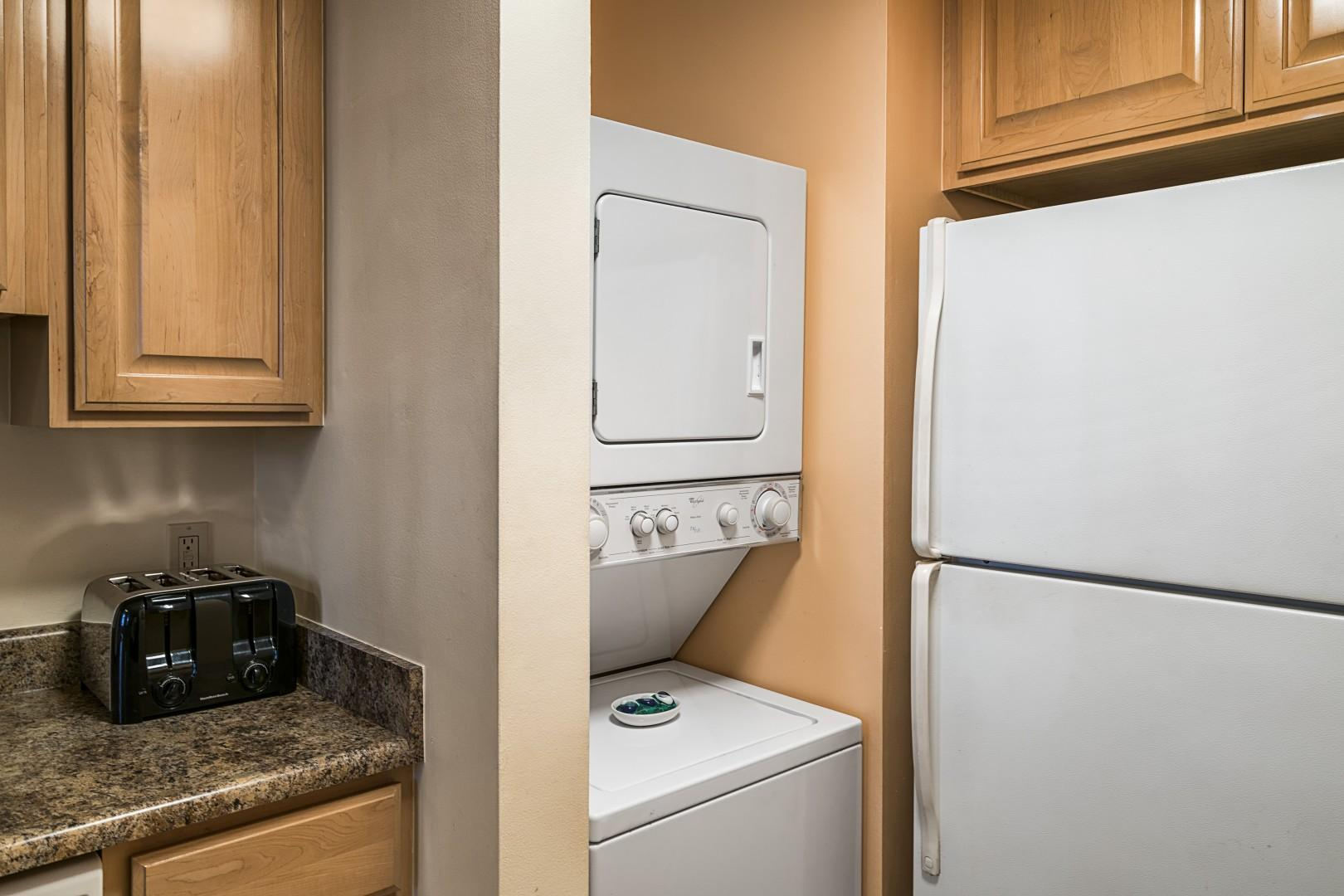 Laundry located in unit for guest convenience.