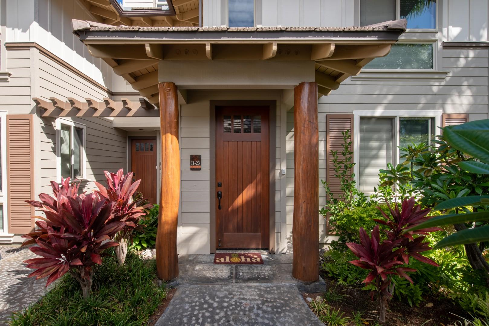 """Front Door to Palm Villas H23 - """"Punahele"""""""