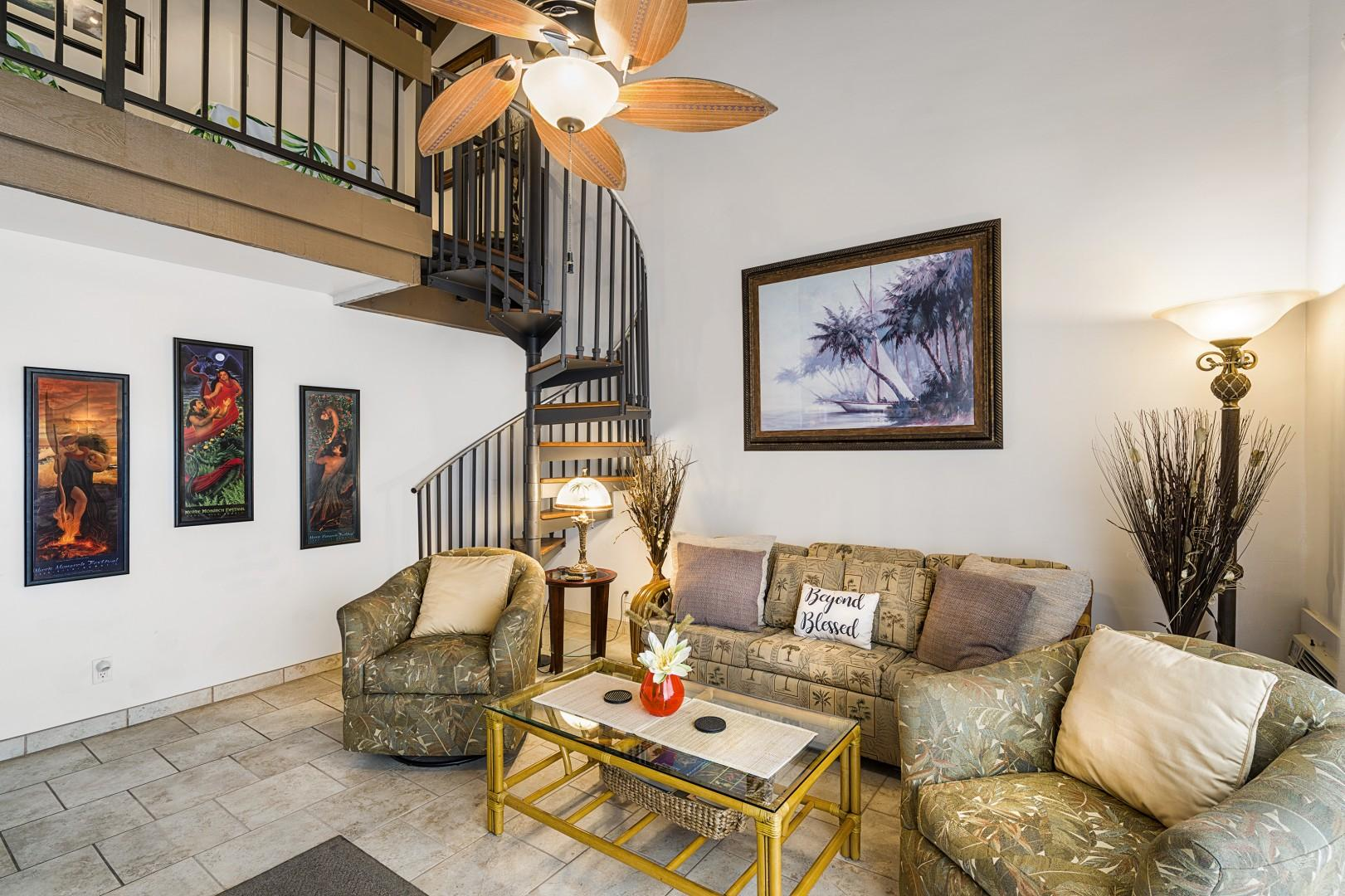 Comfortable living room with sleeper sofa & A/C!
