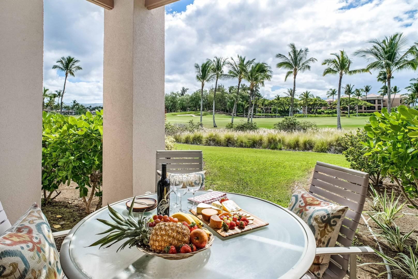 Additional Dining in Private Patio Outside Dining Room w/ View of Golf Course and Palm Trees
