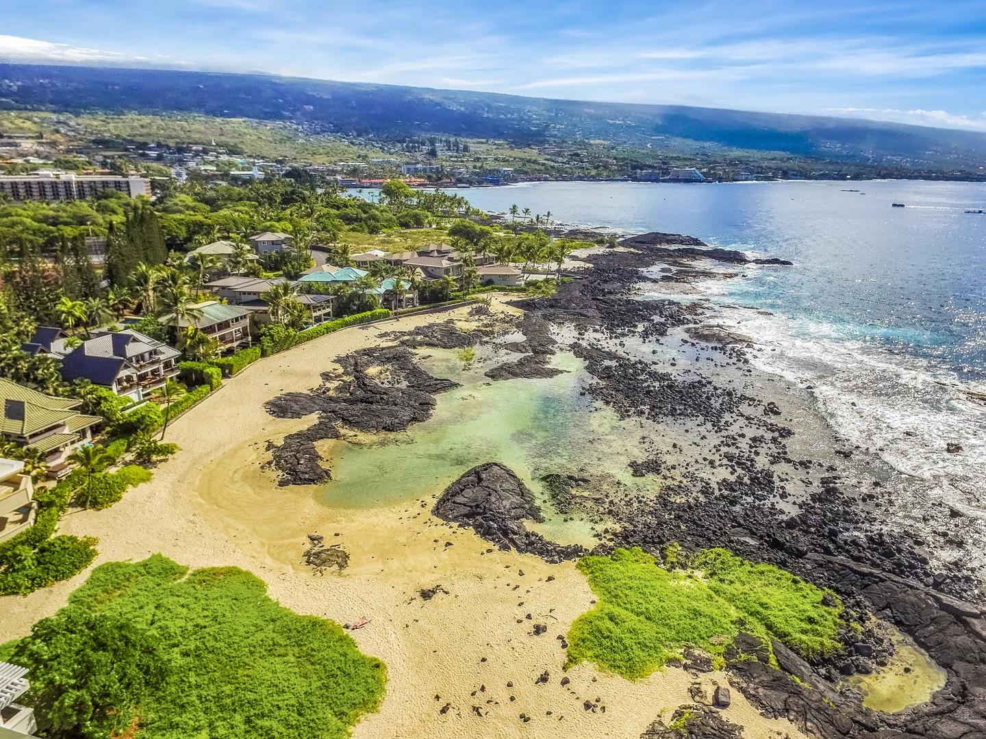 Aerial of Keiki Ponds protected cove