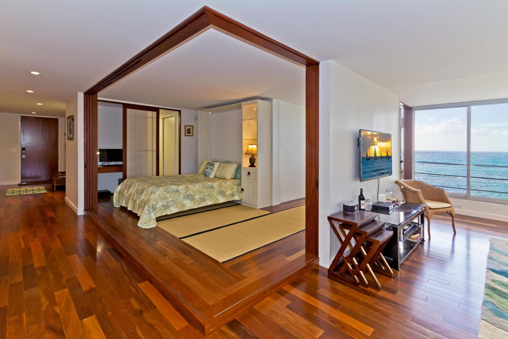 Guest bedroom with queen-size Murphy bed.
