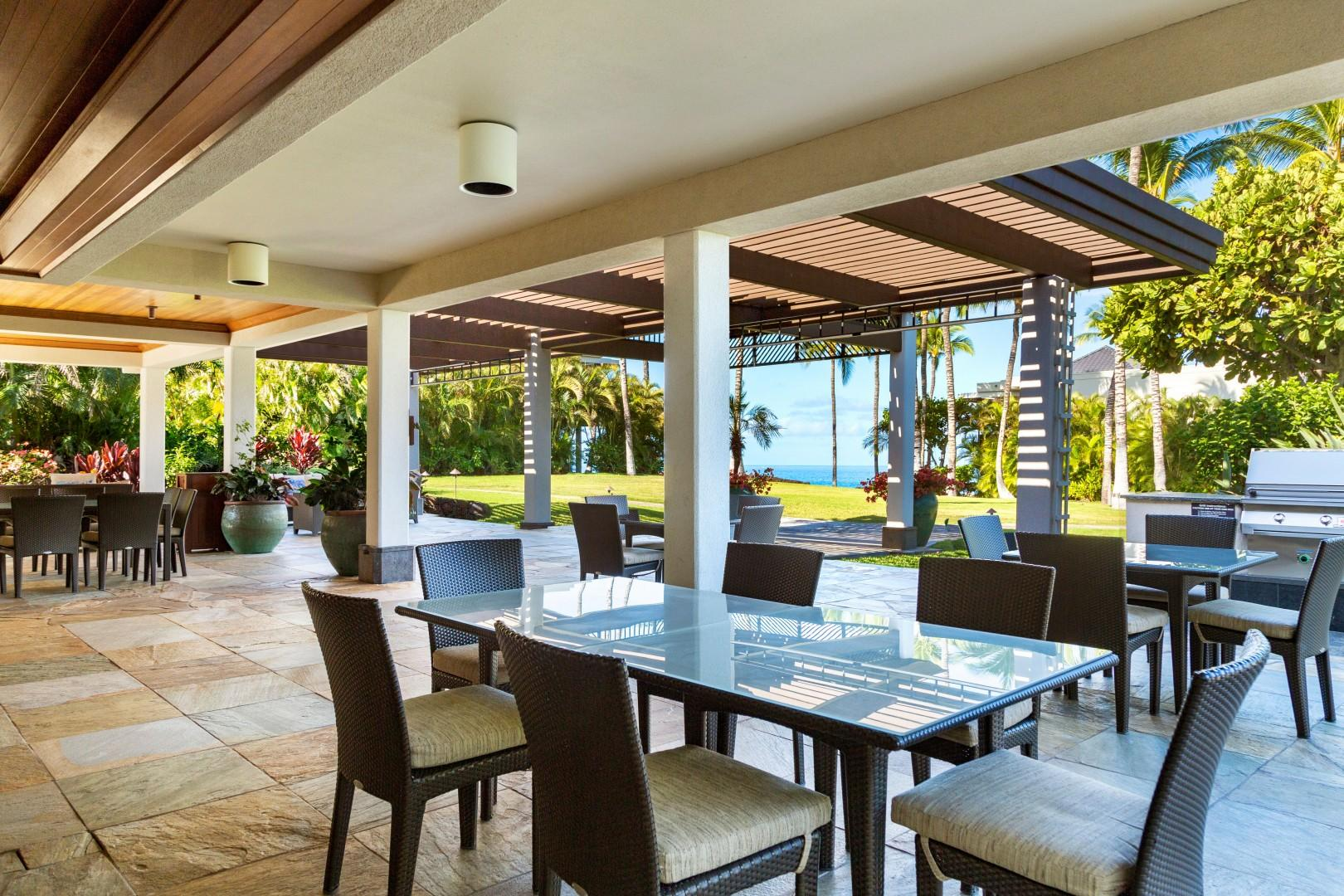 Plenty of seating at the clubhouse and beautiful views.