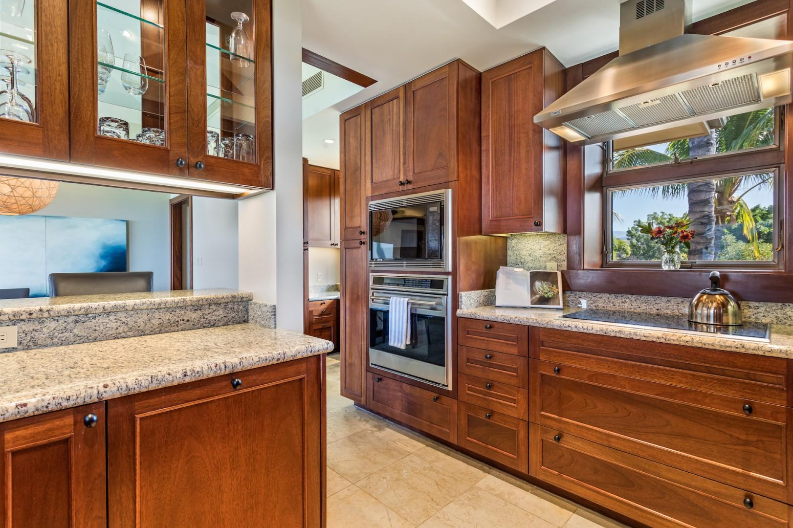 High-end appliances and natural light abound in this modern gourmet kitchen.