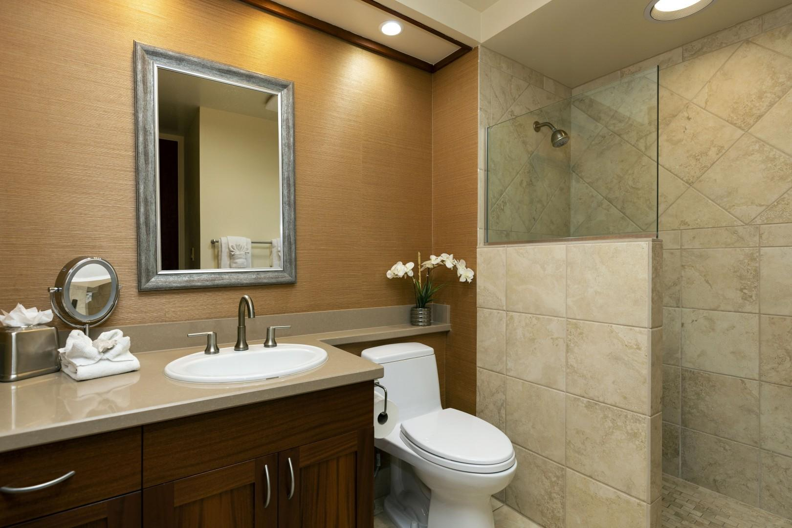 The guest bathroom offers a walk-in shower.