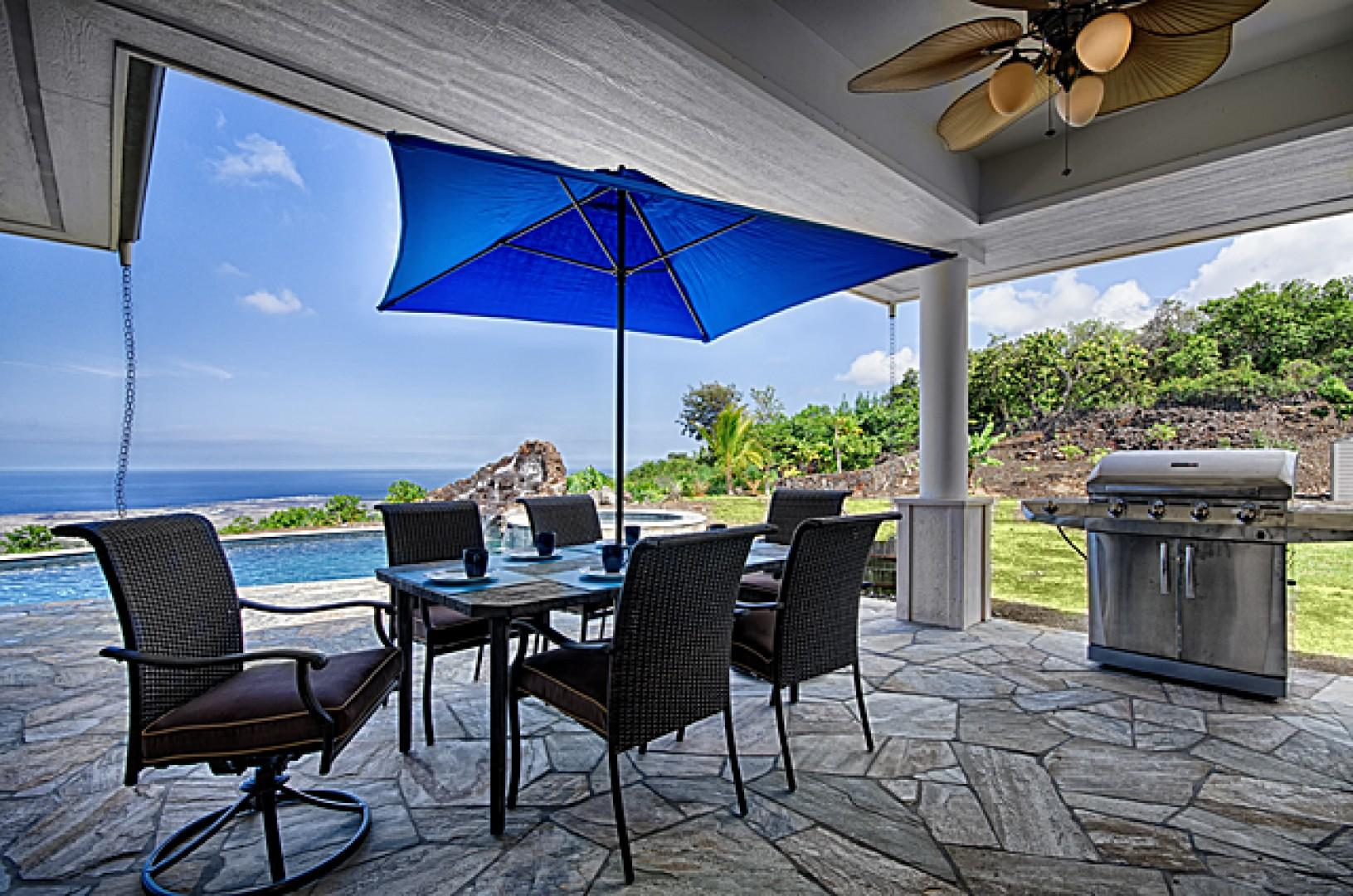 There's plenty of seating on this lanai while the grill heats up