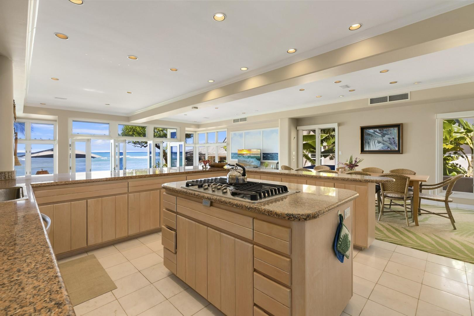 Kitchen with spectacular ocean views.