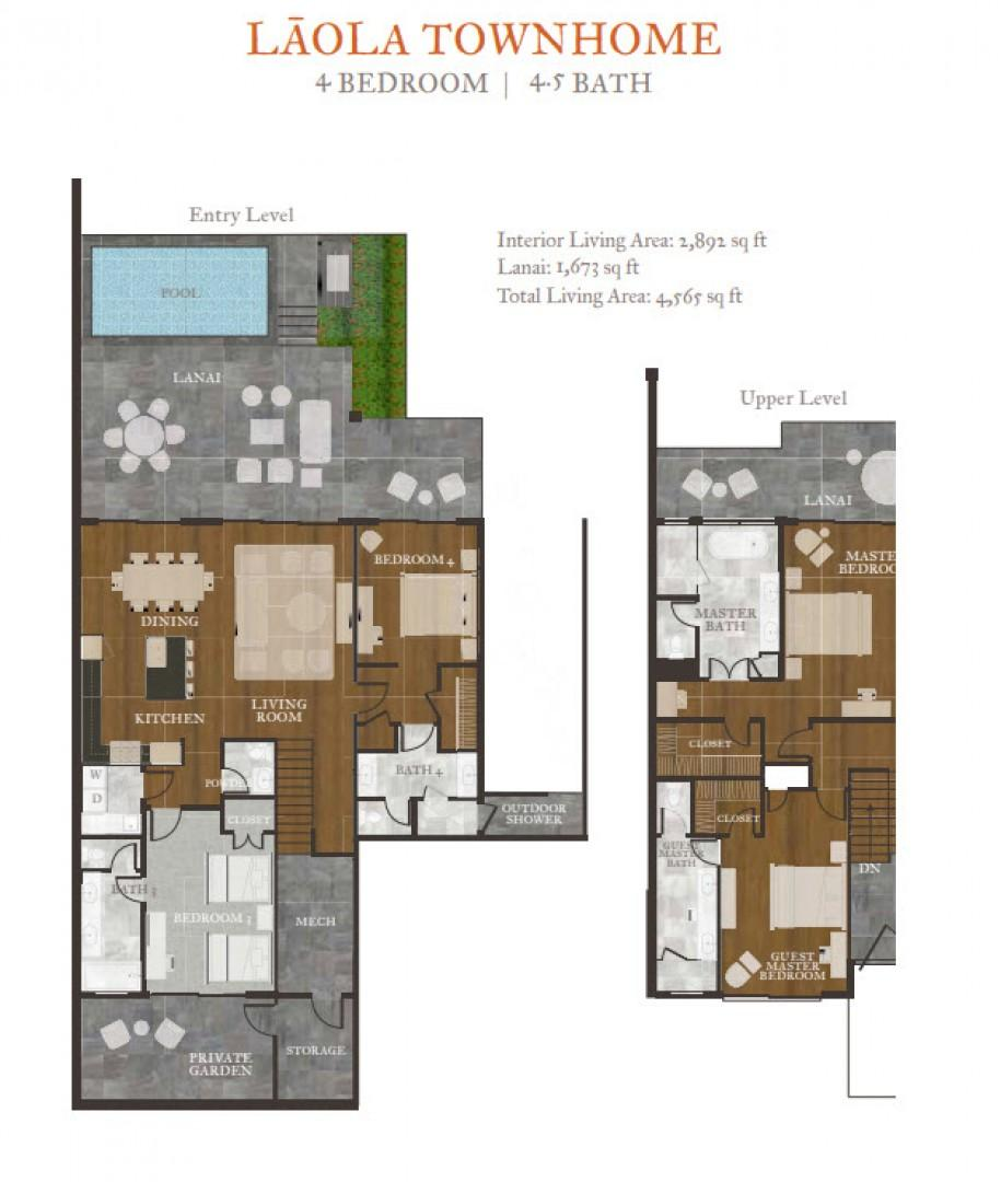 Floor plan of the four-bedroom Laola Townhouse at Hokuala.