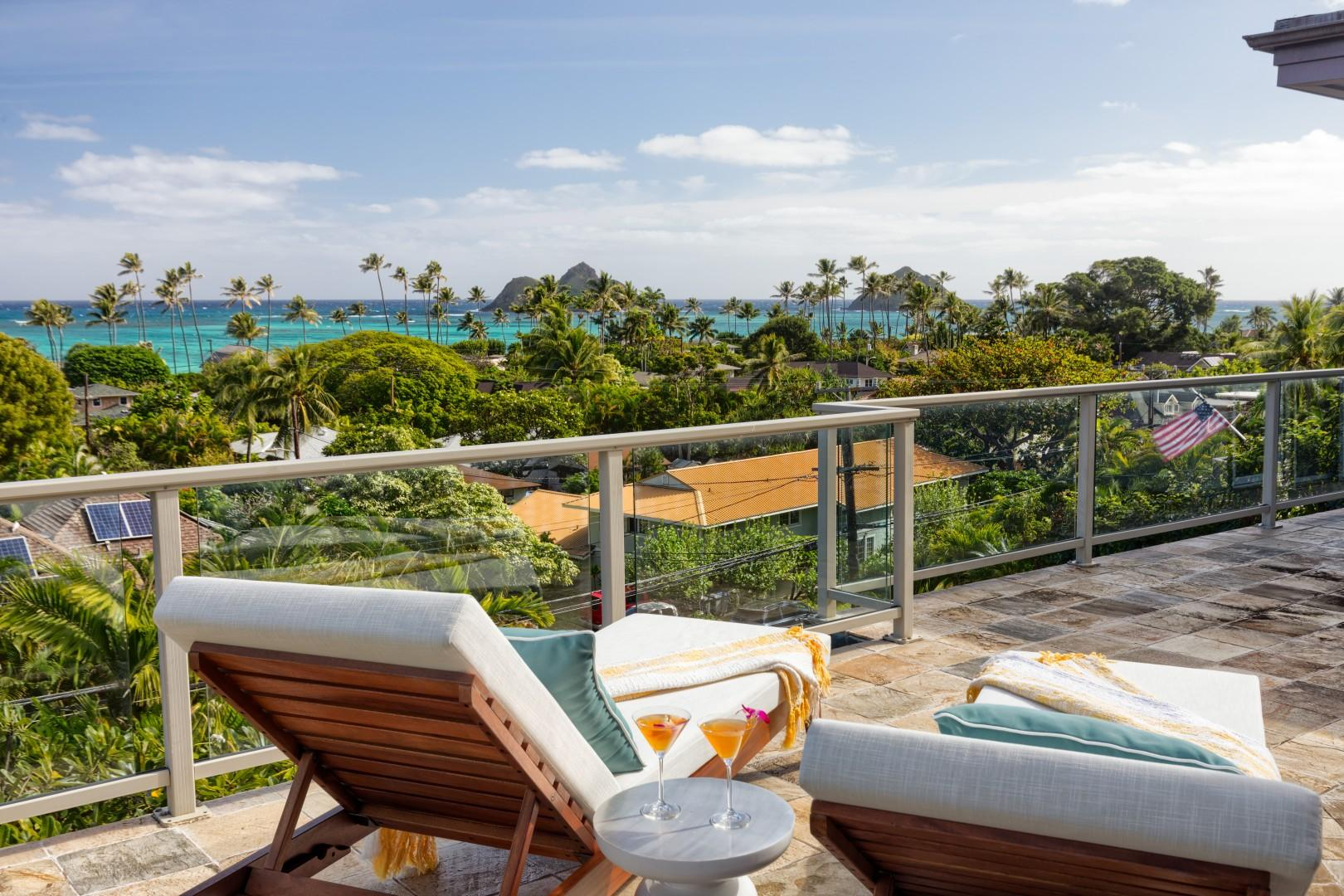 Ultra-private tanning spot with ocean views on the lanai.