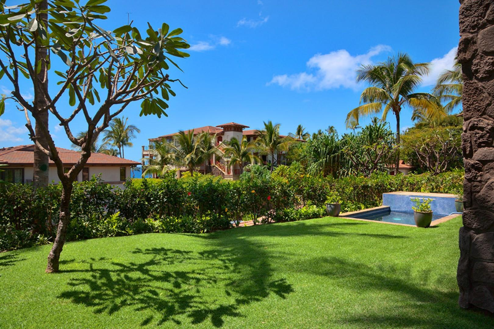 Large, private grass lawn and gardens with partial ocean views, plunge pool, and grotto shower.