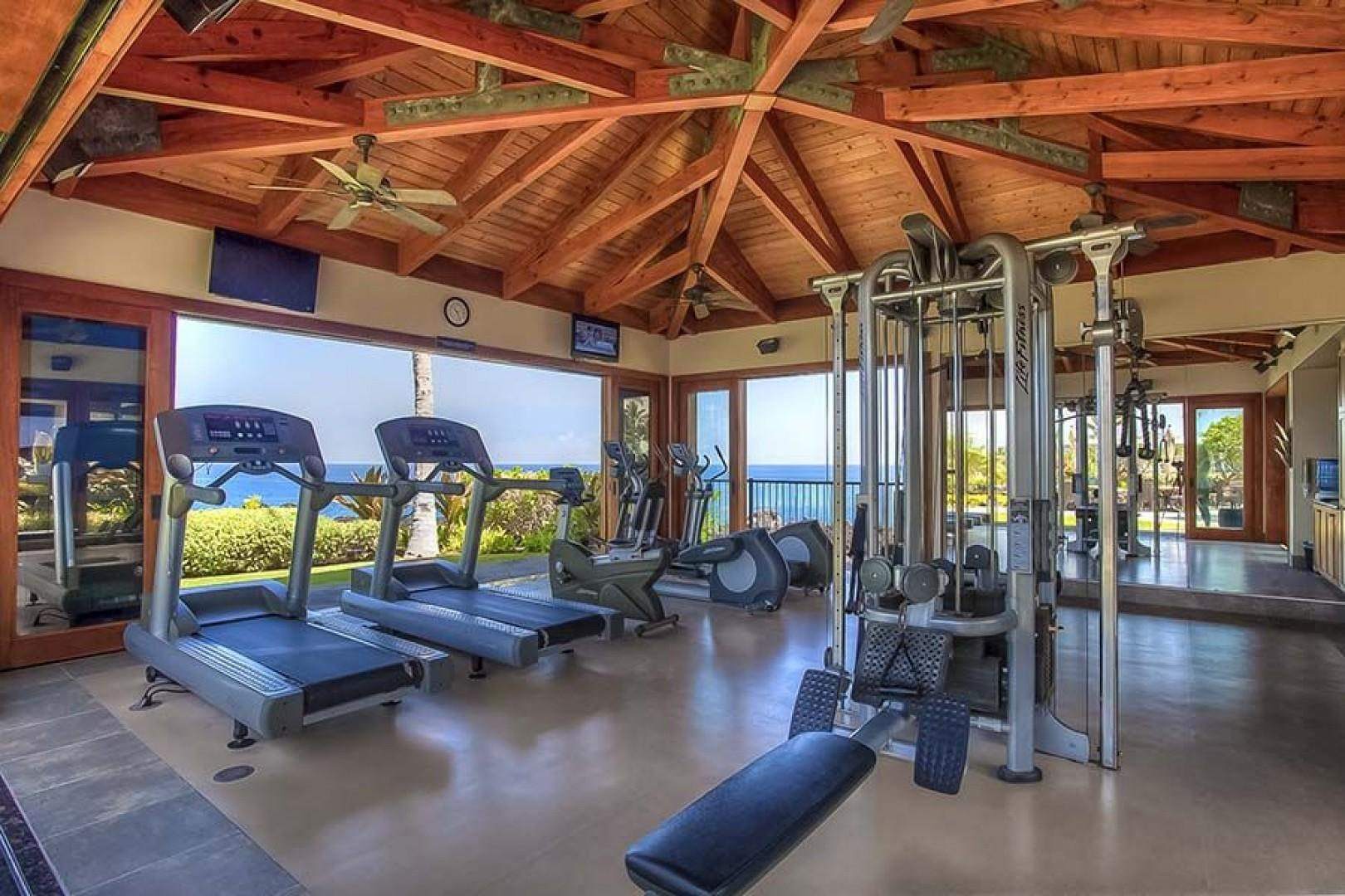 Oceanfront workout cabana, watch whales while you get fit