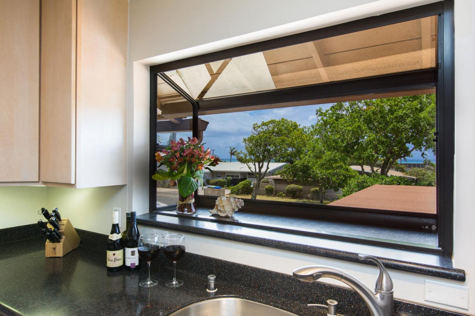 If you have to wash dishes while on vacation, at least you'll have an ocean view!