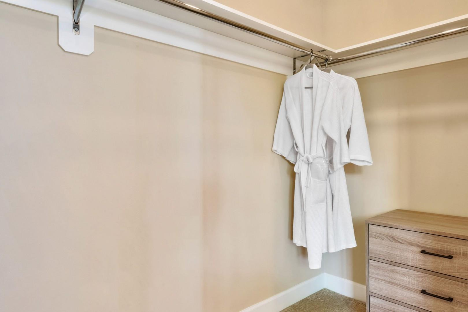 Robes can be found in the closets