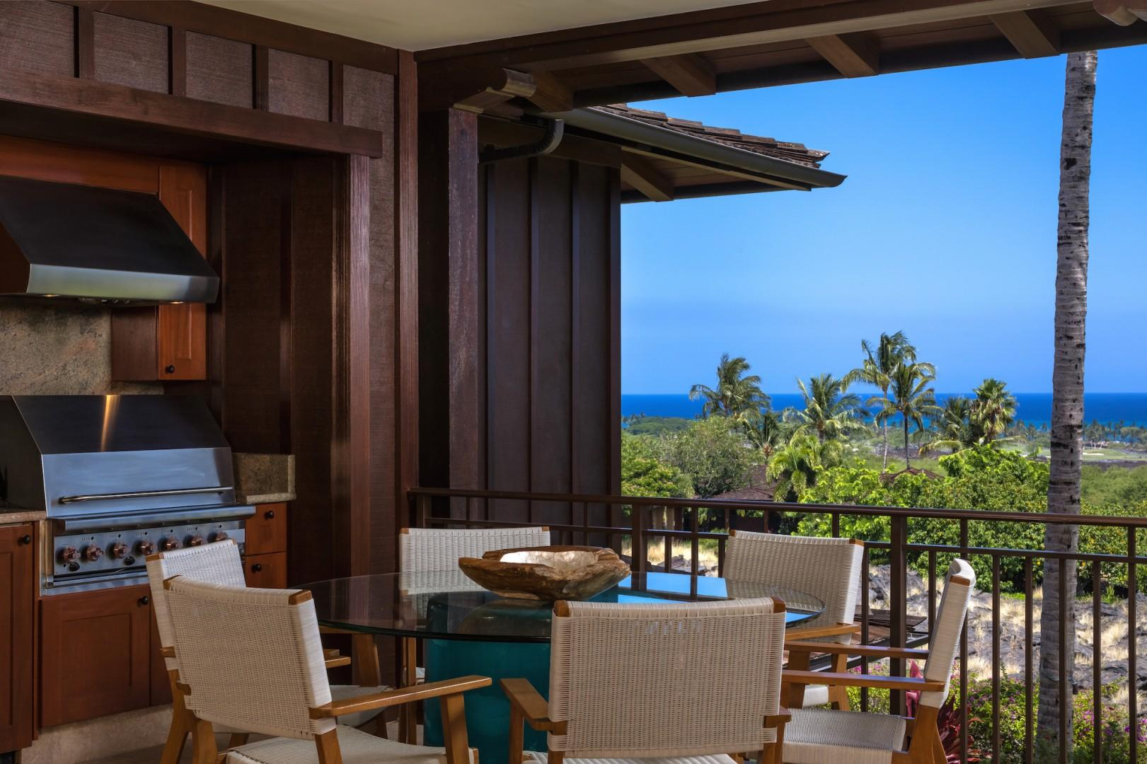 Other side of capacious lanai with loungers, barbecue grill, and dining area for six.