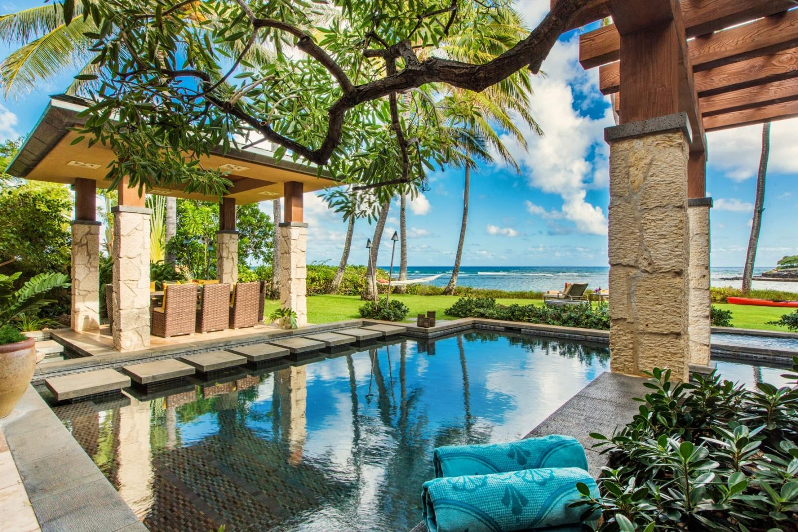 Pool and Cabana toward Ocean