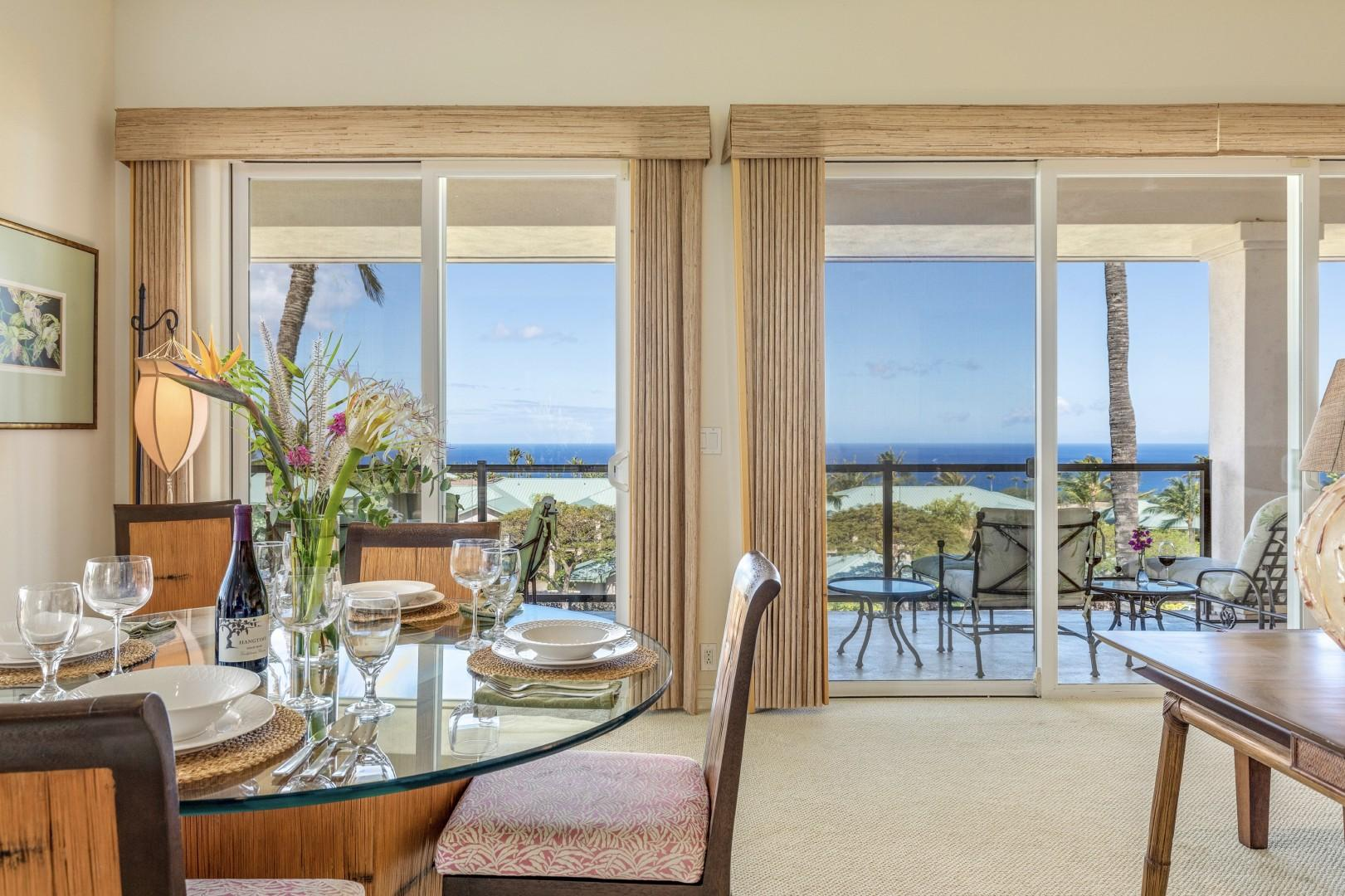 Indoor and outdoor dining both offer ocean views.