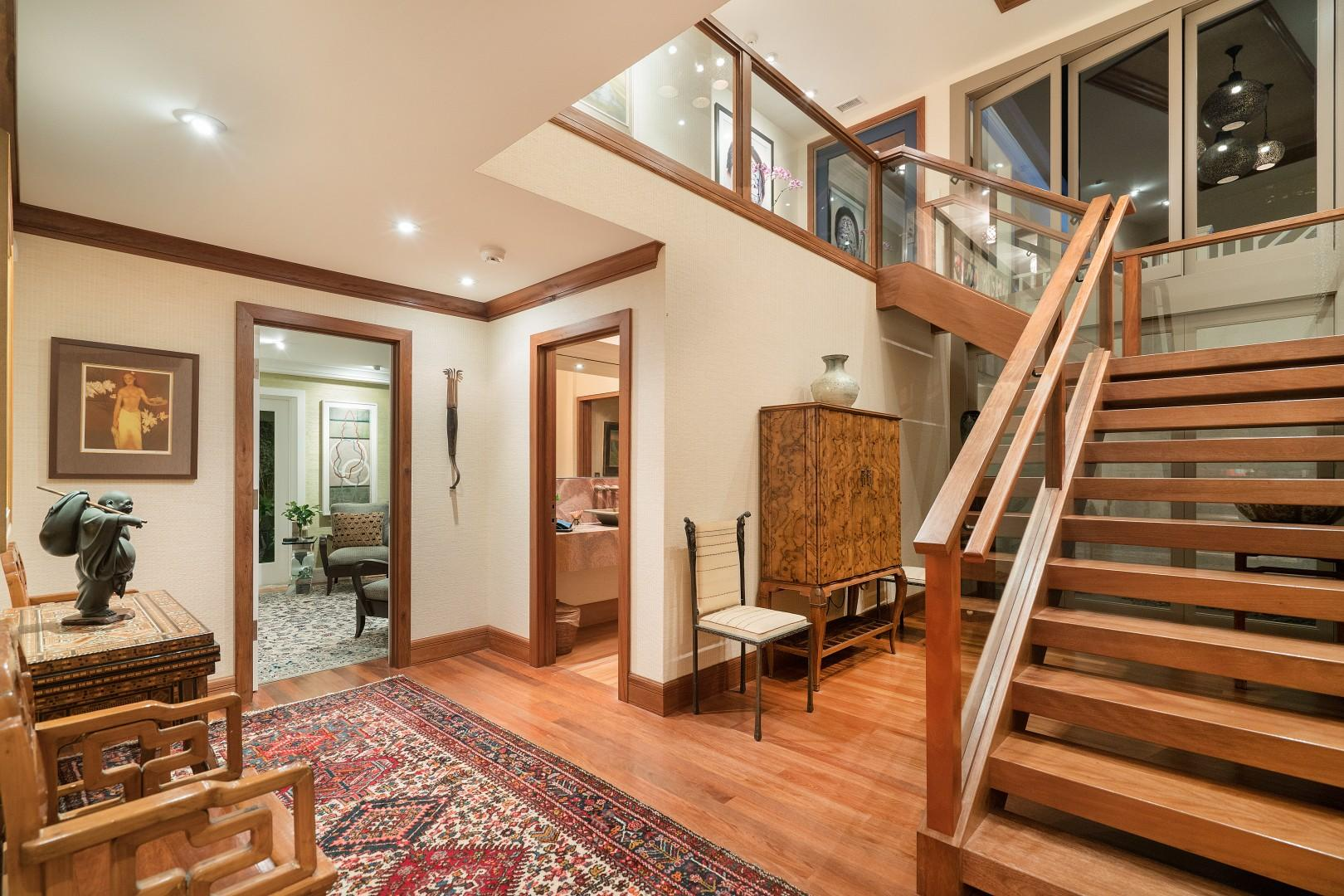 Office, powder room, and stairs