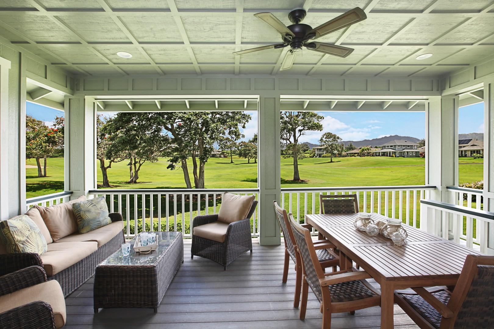 Lanai with golf course and mountain views