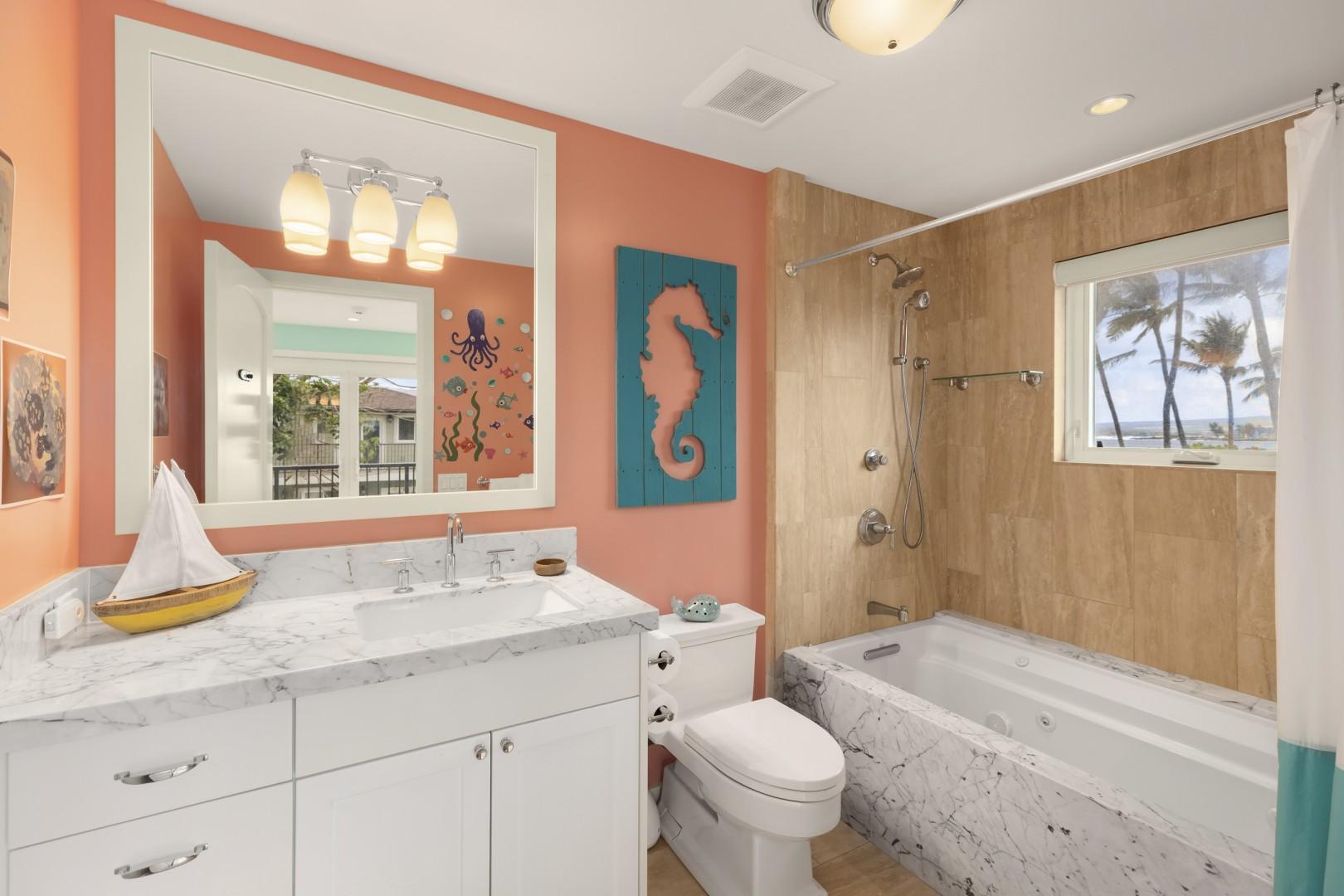Second-floor bathroom, with whirlpool tub.