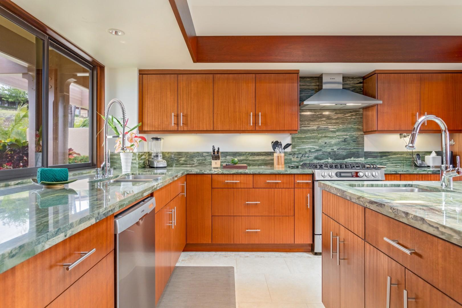Two ovens, three sinks, endless counter space, and ocean views!