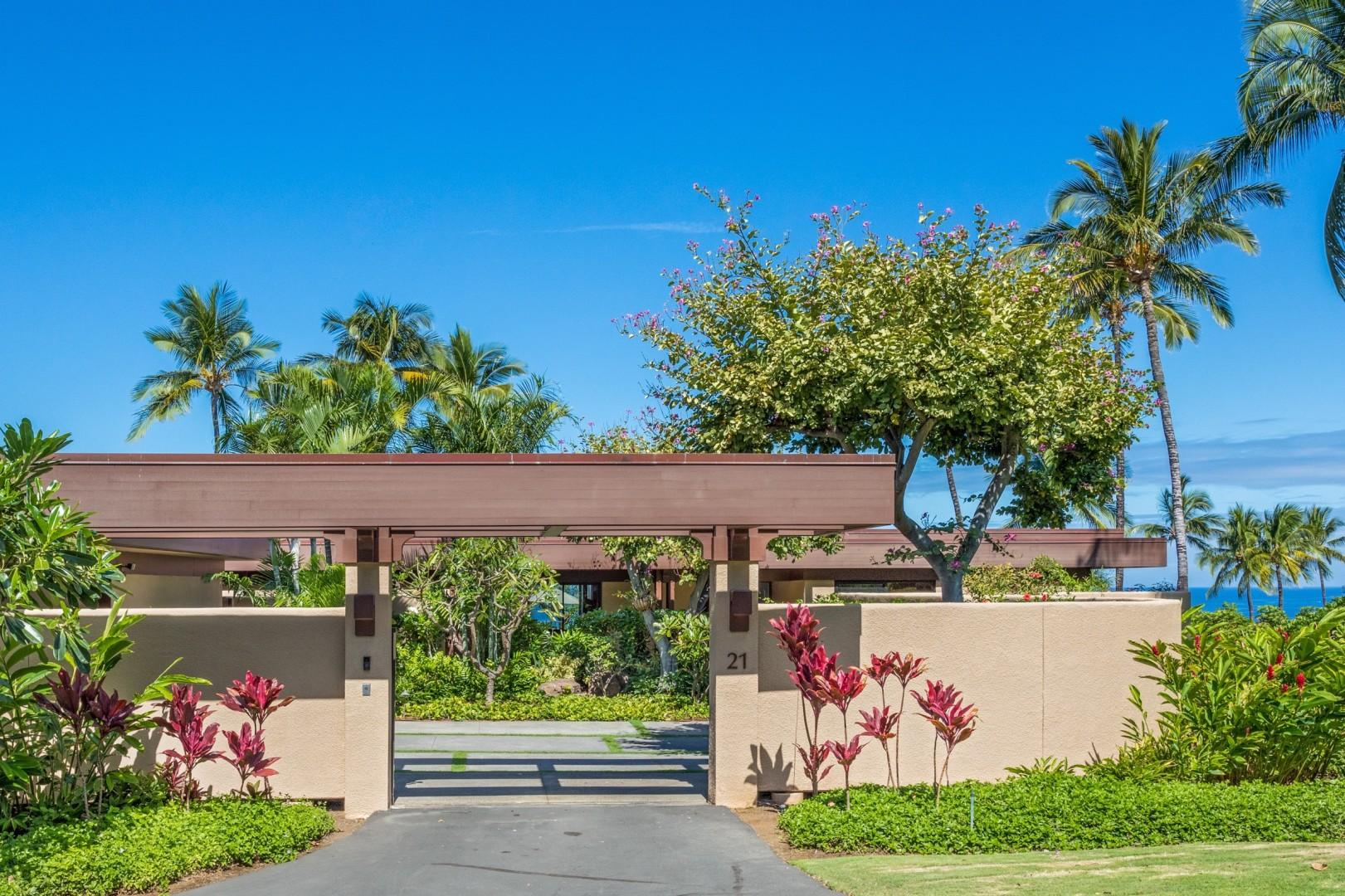 Gated Private Entrance to Villa 21 w/Large Motor Court & Two-Car Garage.