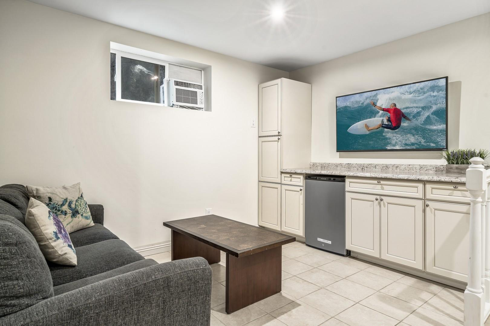 Media room with wall mounted TV, A/C and Queen sleeper sofa