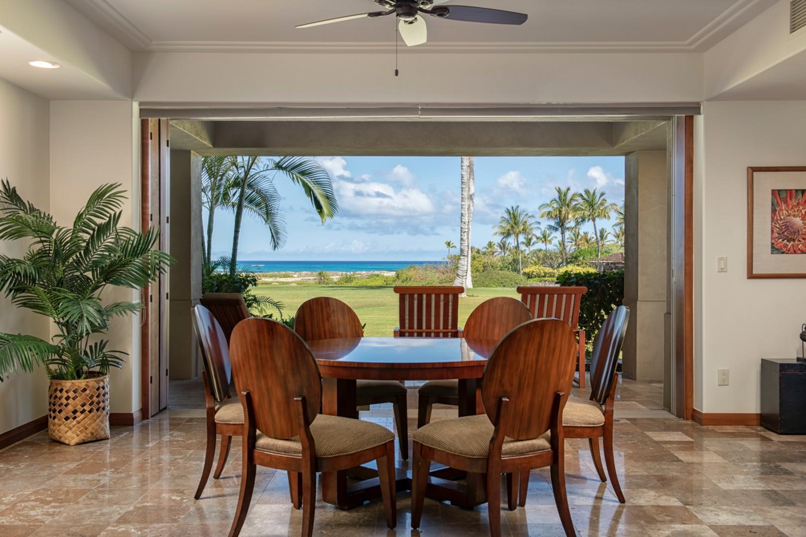 Elegant breakfast table with ocean views.