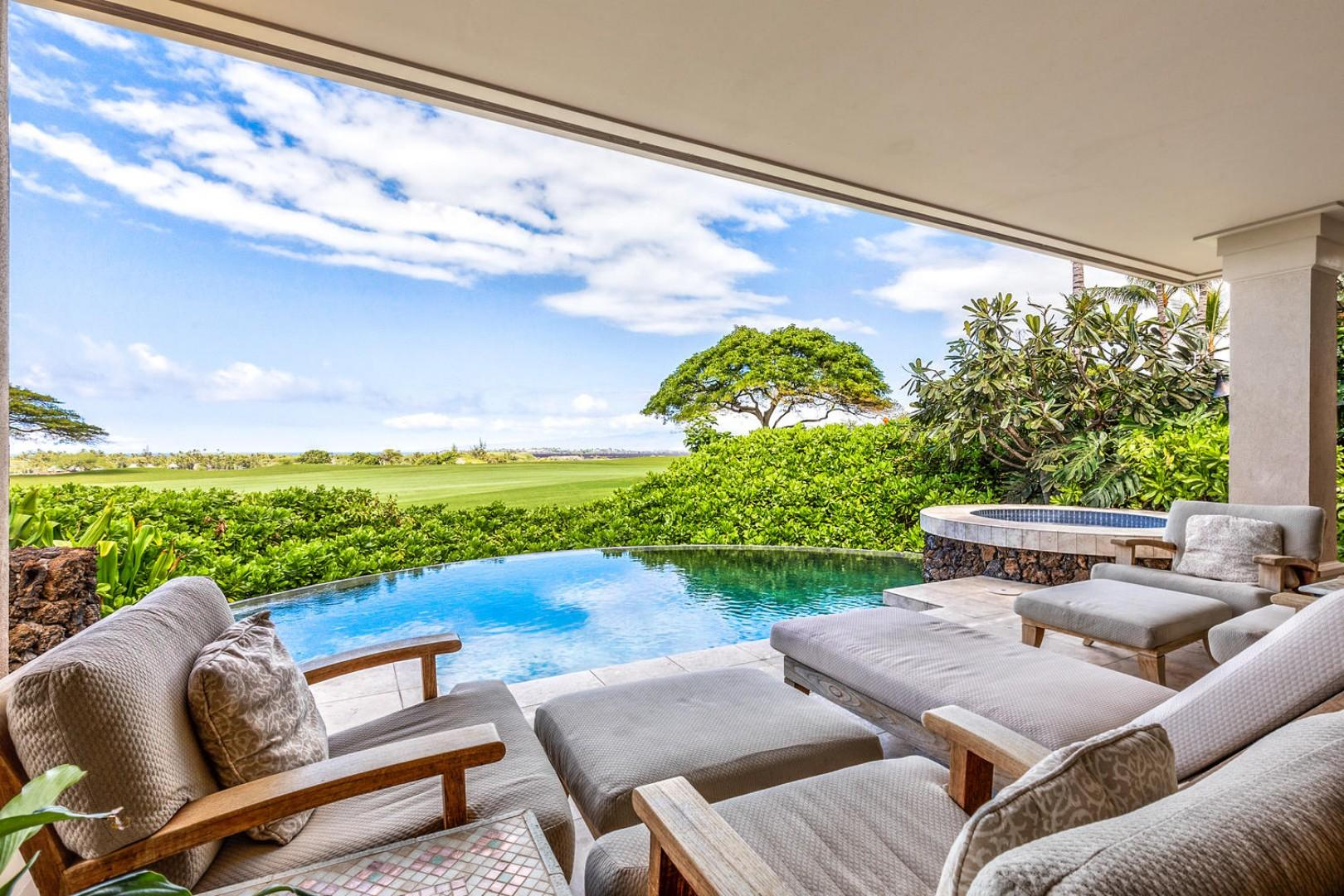 Plush loungers, private pool & spa overlooking 9th hole on Jack Nicklaus golf course.