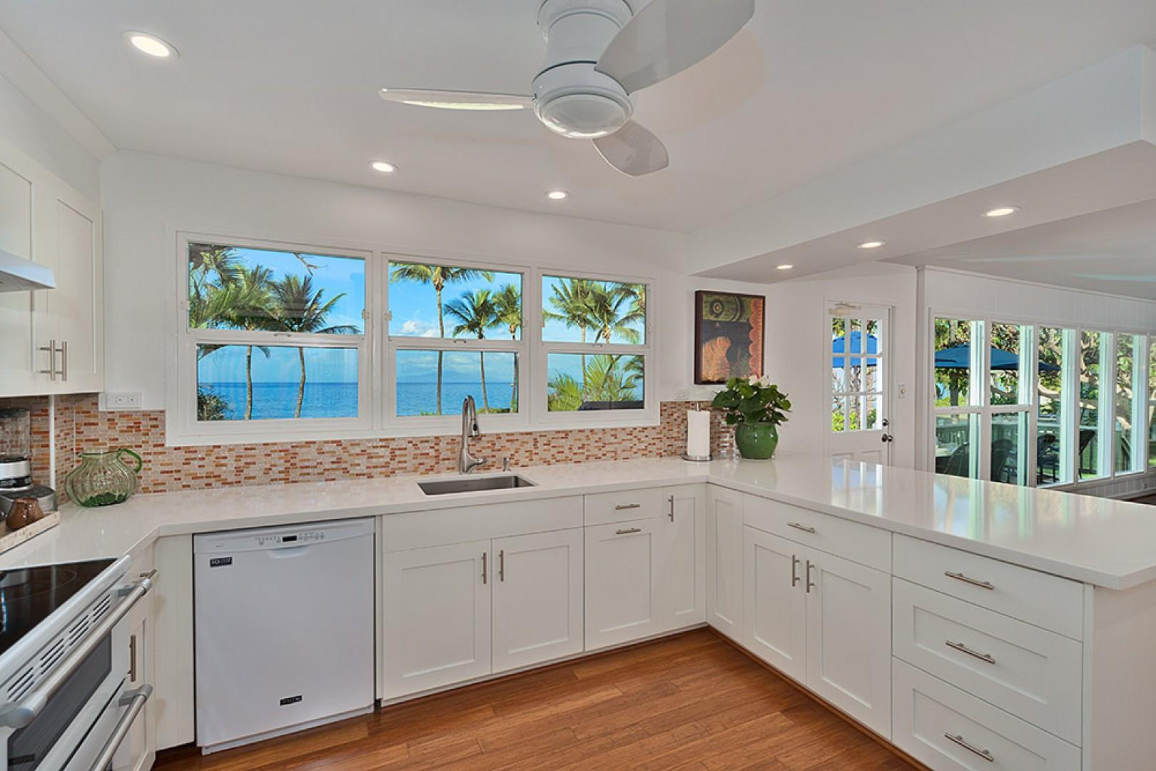 Wailea Sunset Bungalow - Fully Equipped Ocean View Kitchen - Just fully remodeled - all new appliances, cabinets, counters, flooring, and kitchen supplies! Kitchen windows now have woven wood blinds.