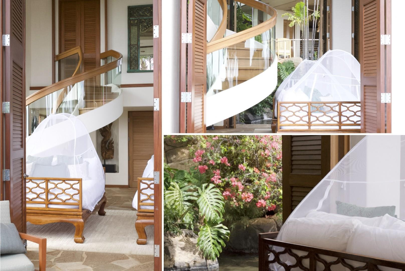 Elegant mosquito netting enclosures allow shutter doors to remain open for maximum sleeping comfort on breezy tropical nights.