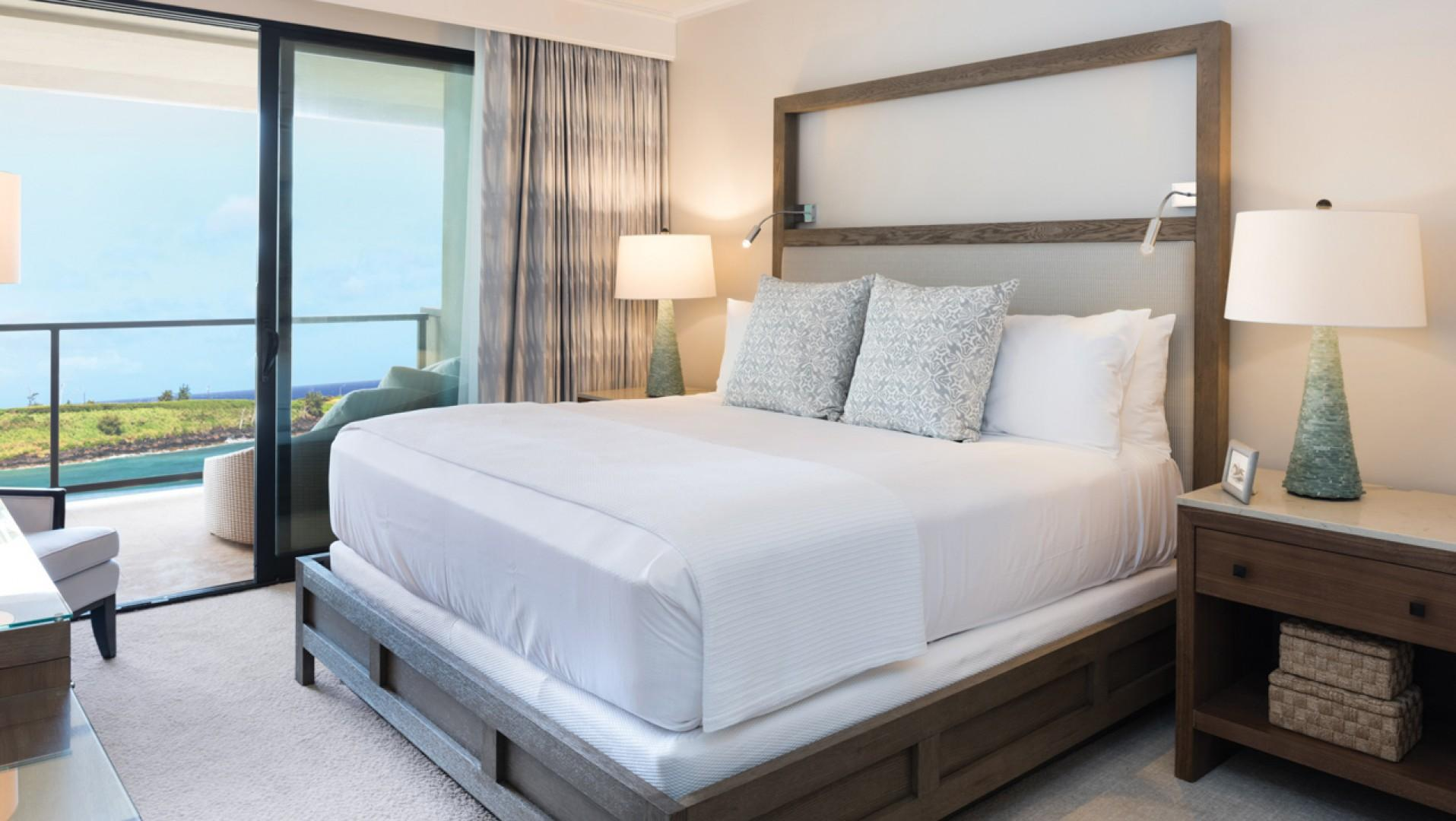 Spacious, luxurious bedrooms also feature stunning ocean views.