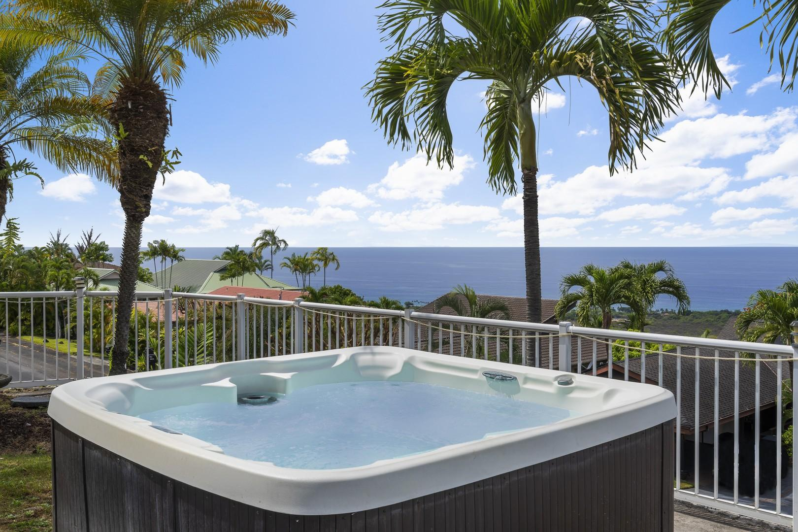 The hot tub can seat 6 guests