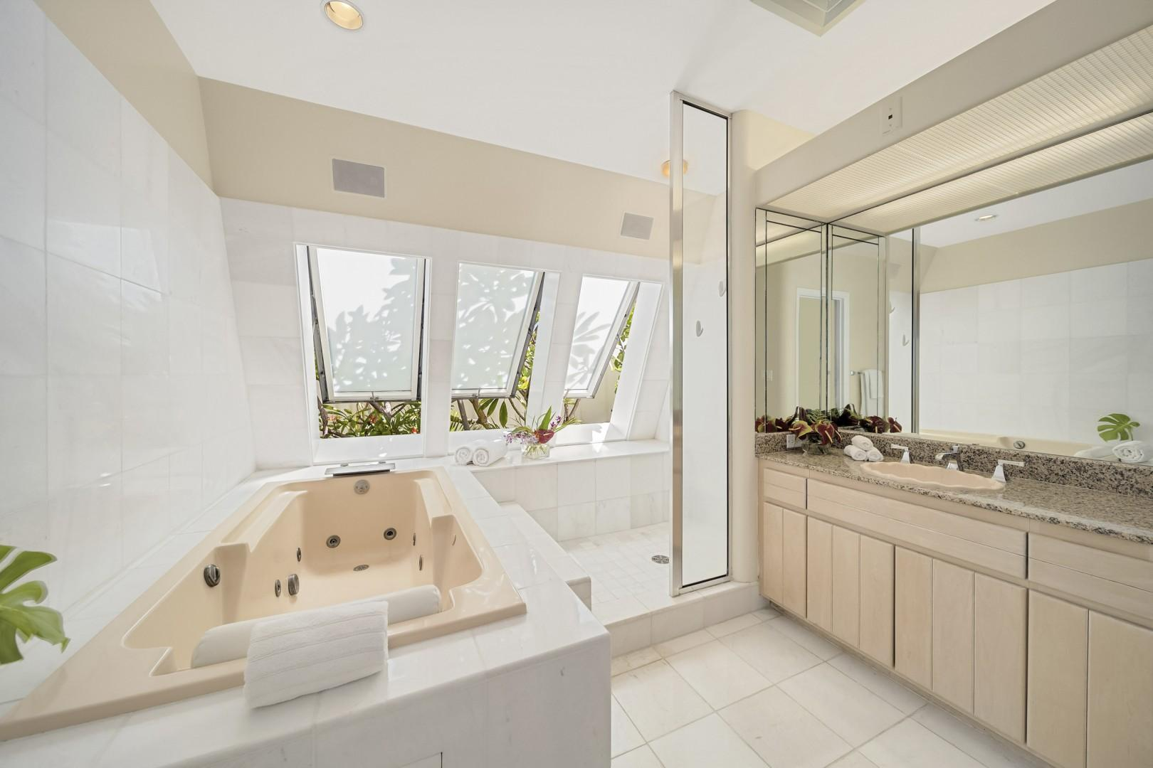 Master bathroom with jetted tub and walk-in shower.