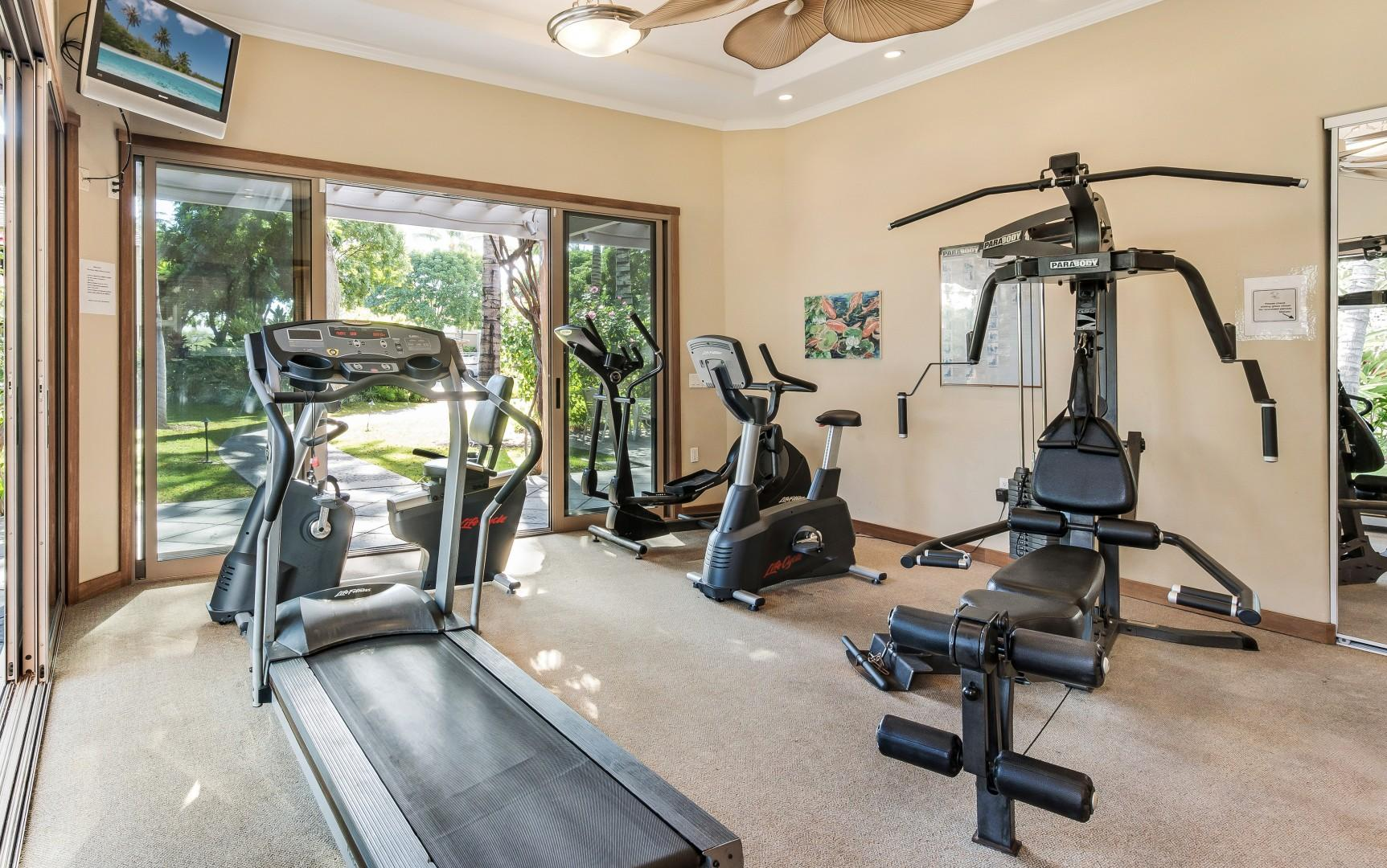 Air-Conditioned Fitness Room Next to Swimming Pool w/ Treadmill, Elliptical Bike, Stairmaster, and Weight Machine