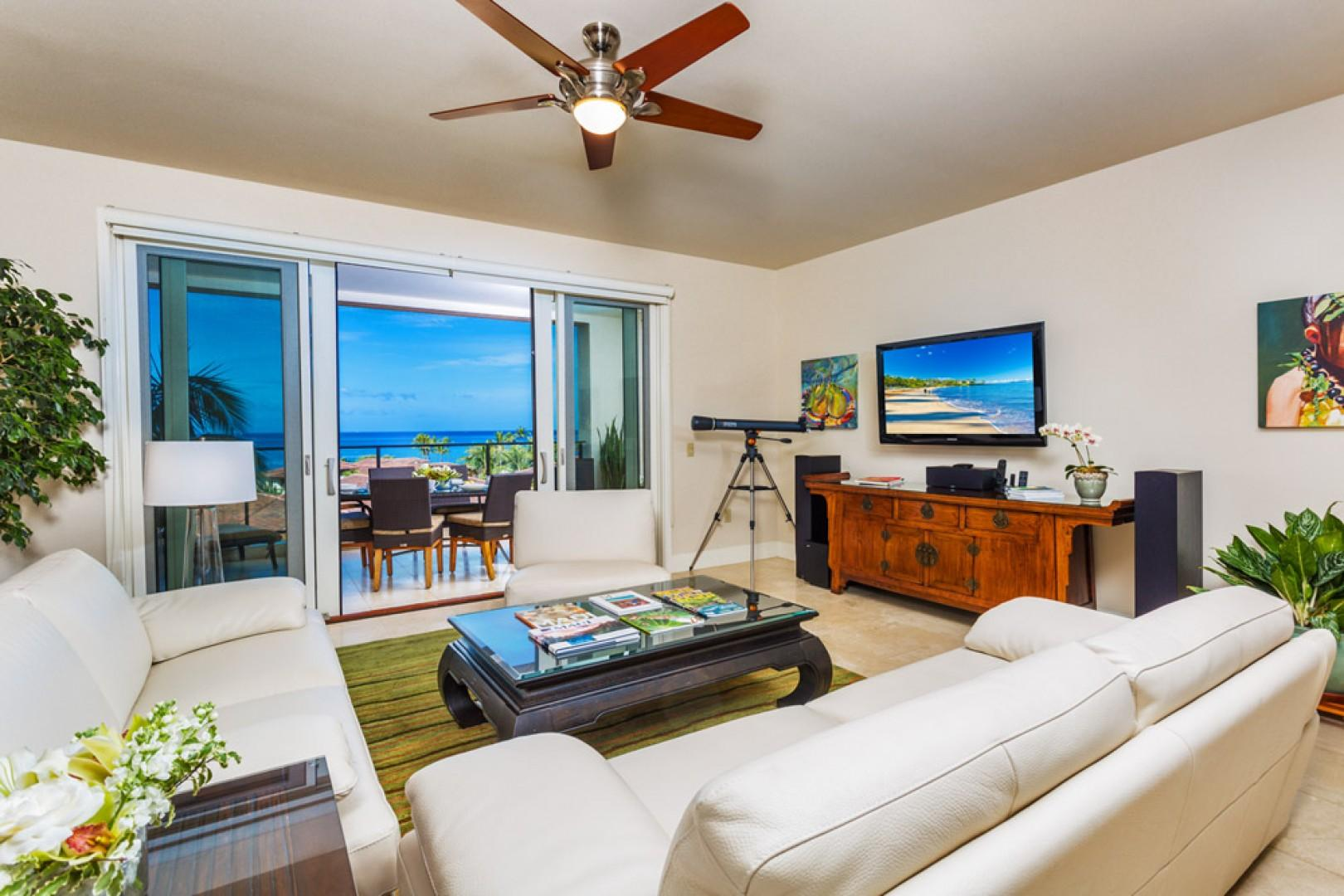 Spacious ocean-view great room with Natuzzi leather furnishings, 50