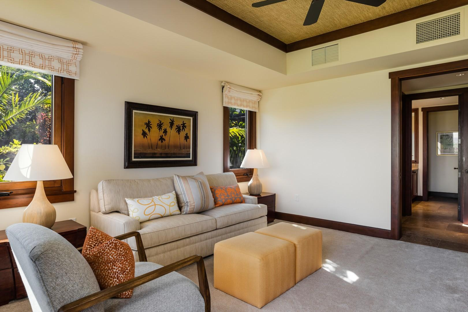 Alternate view of Den showcasing natural light and chic decor.
