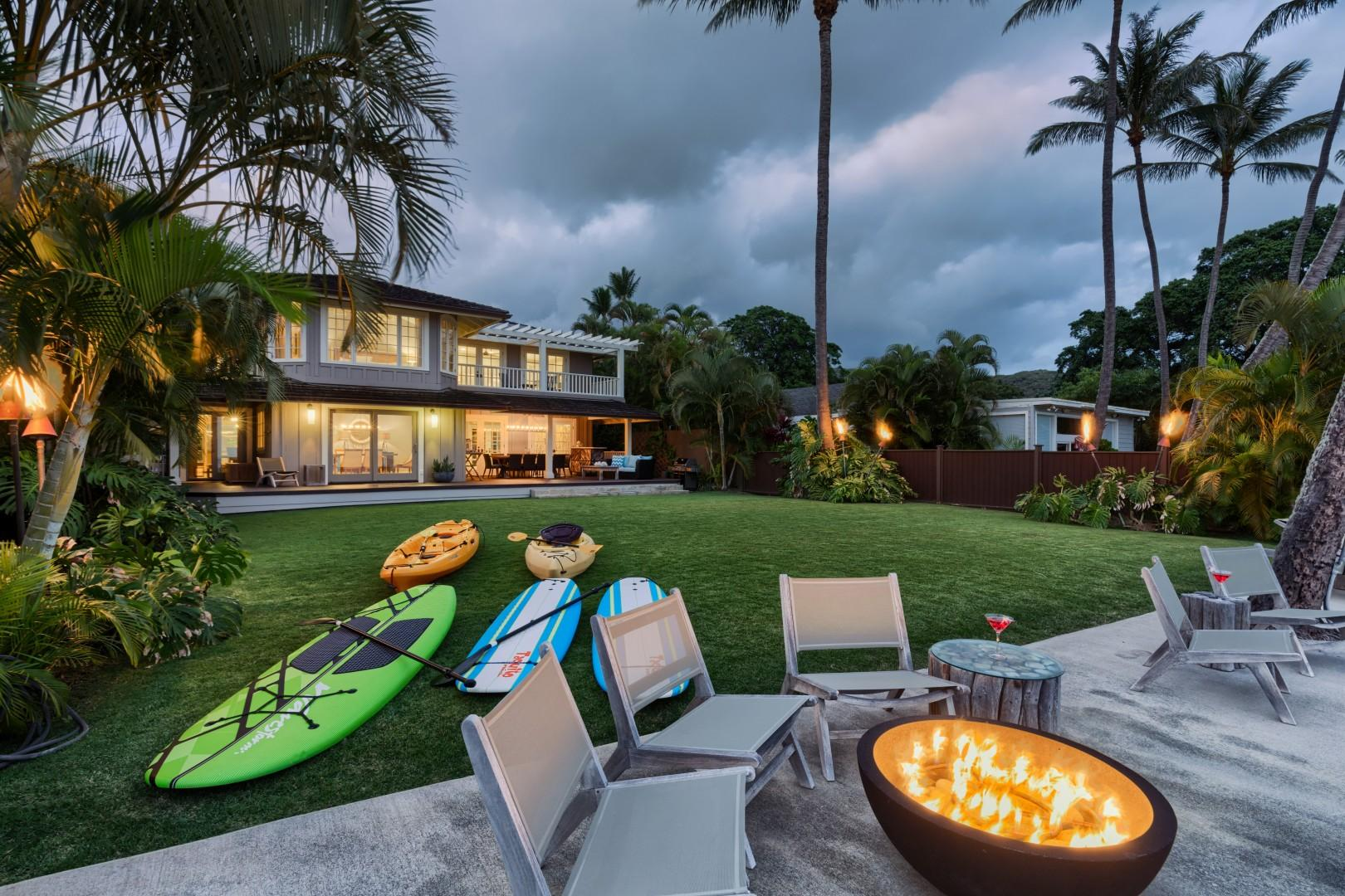 Relax into the ocean-front loungers after an evening of stand up paddling.