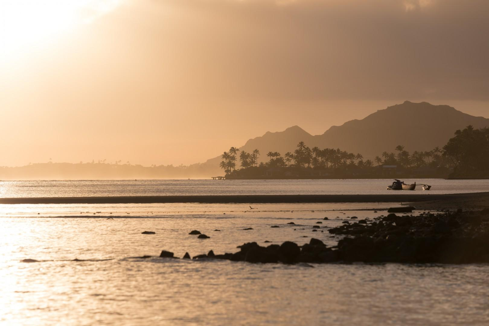 Views of Diamond Head during sunset.