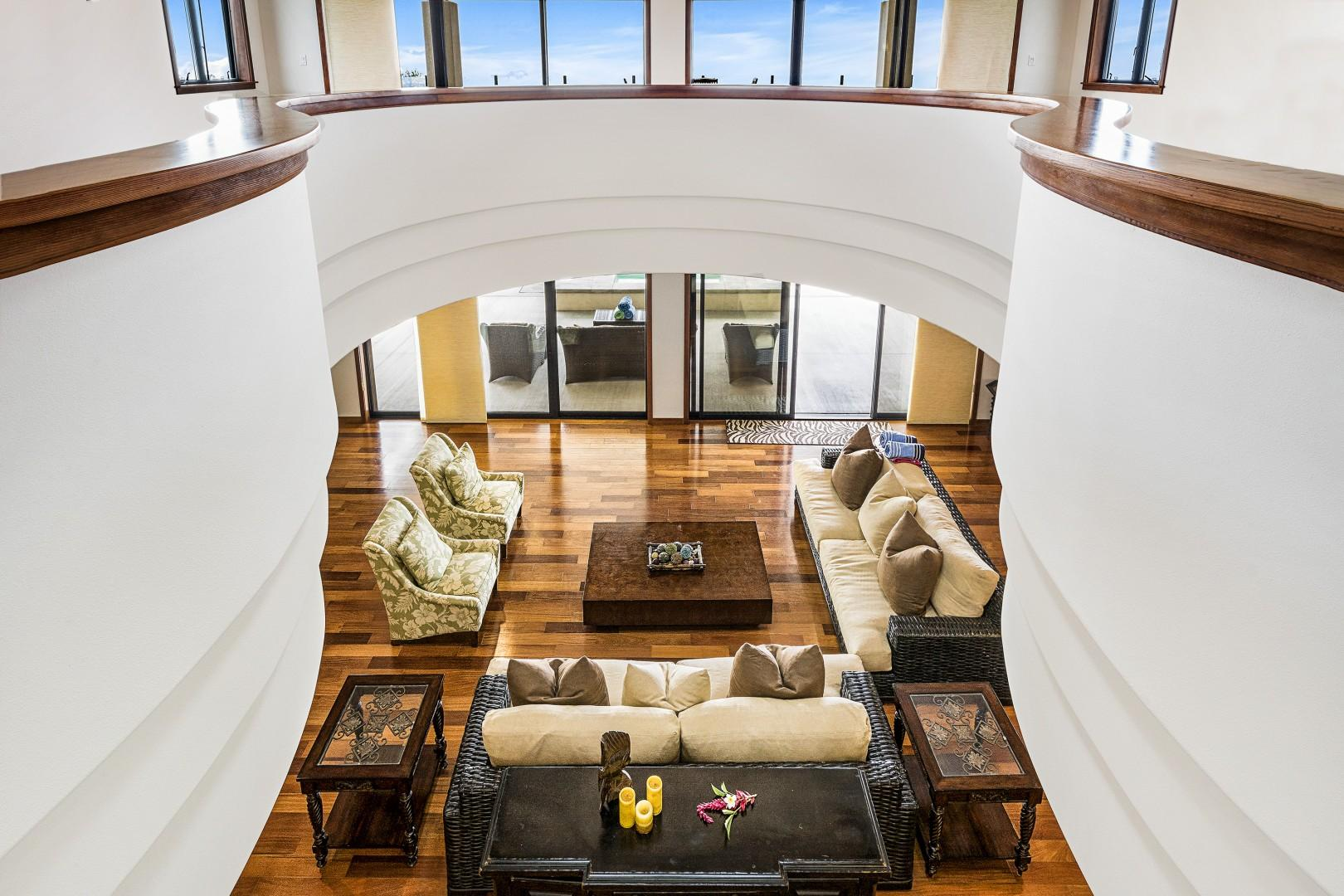 Looking down from the upstairs to the spacious living room!