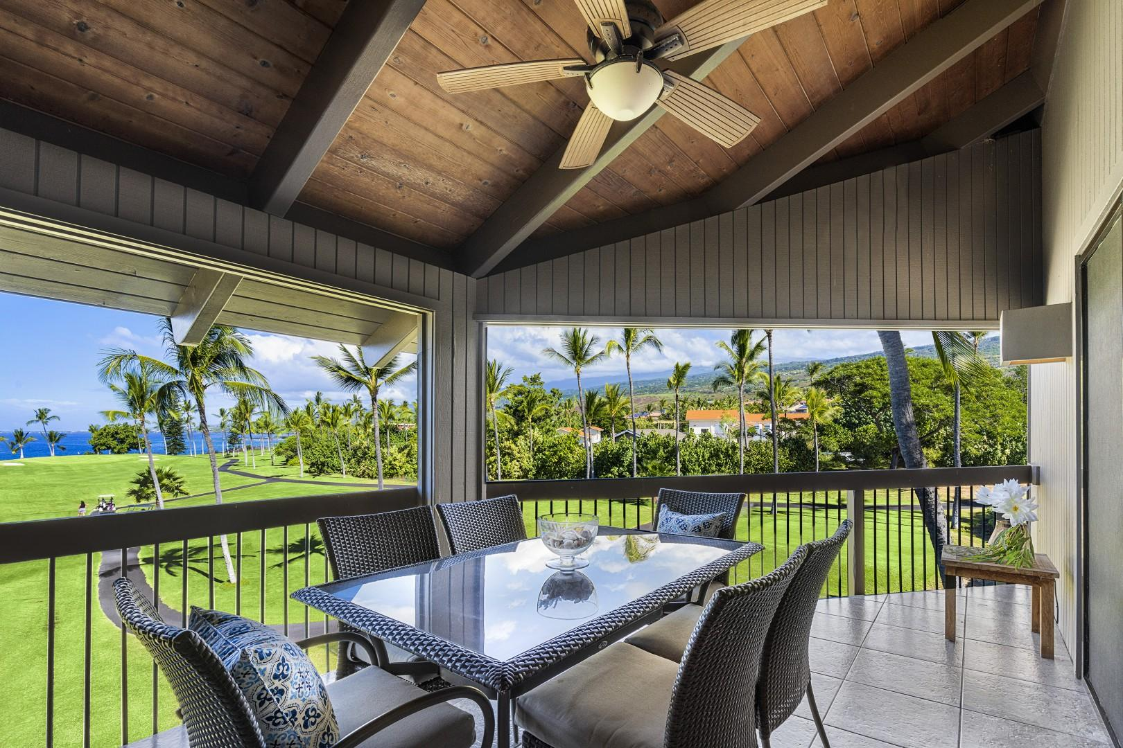 Dining for 6 guests on the spacious Lanai!
