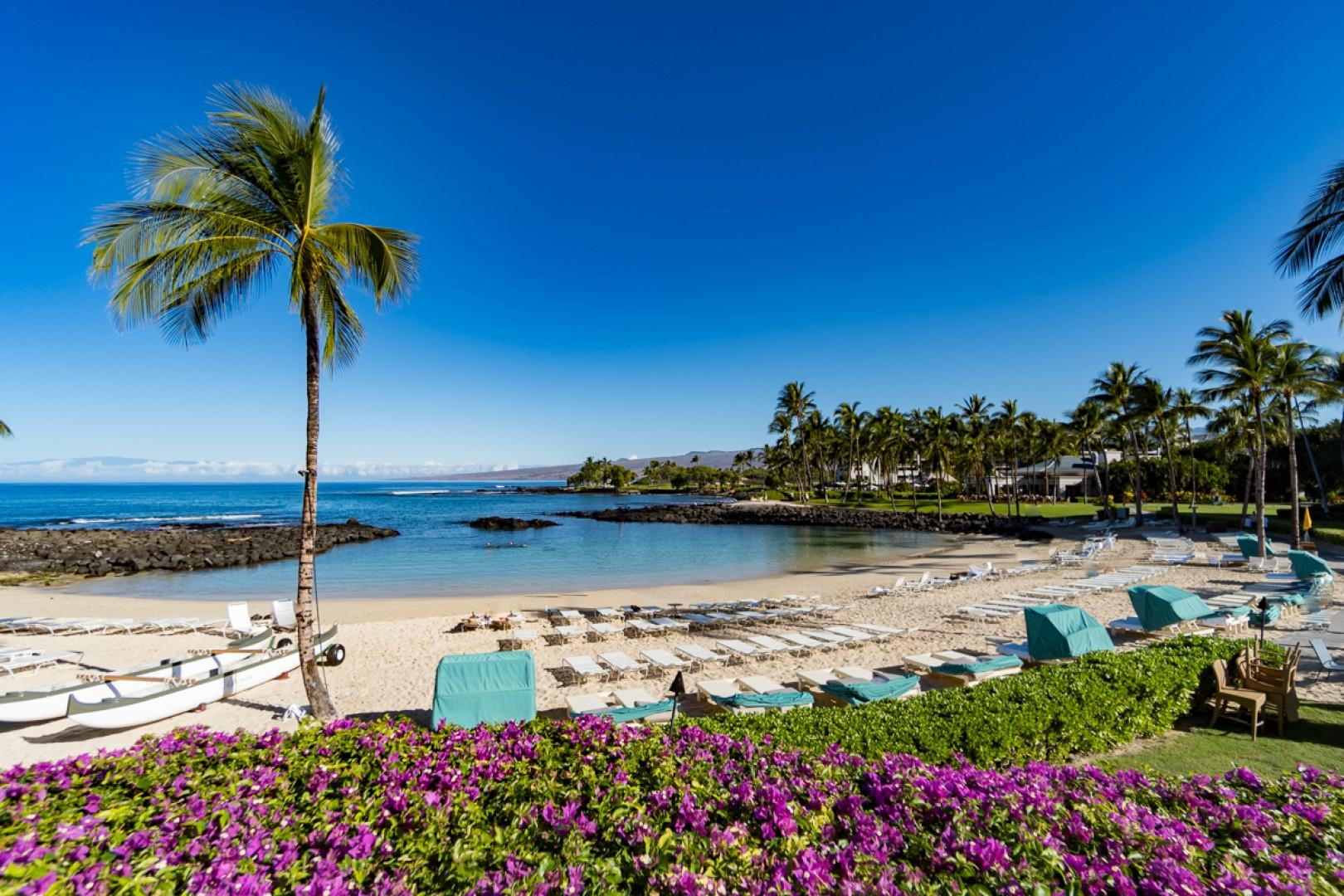 Beach access from Pauoa Beach Club, situated next to the Fairmont Orchid