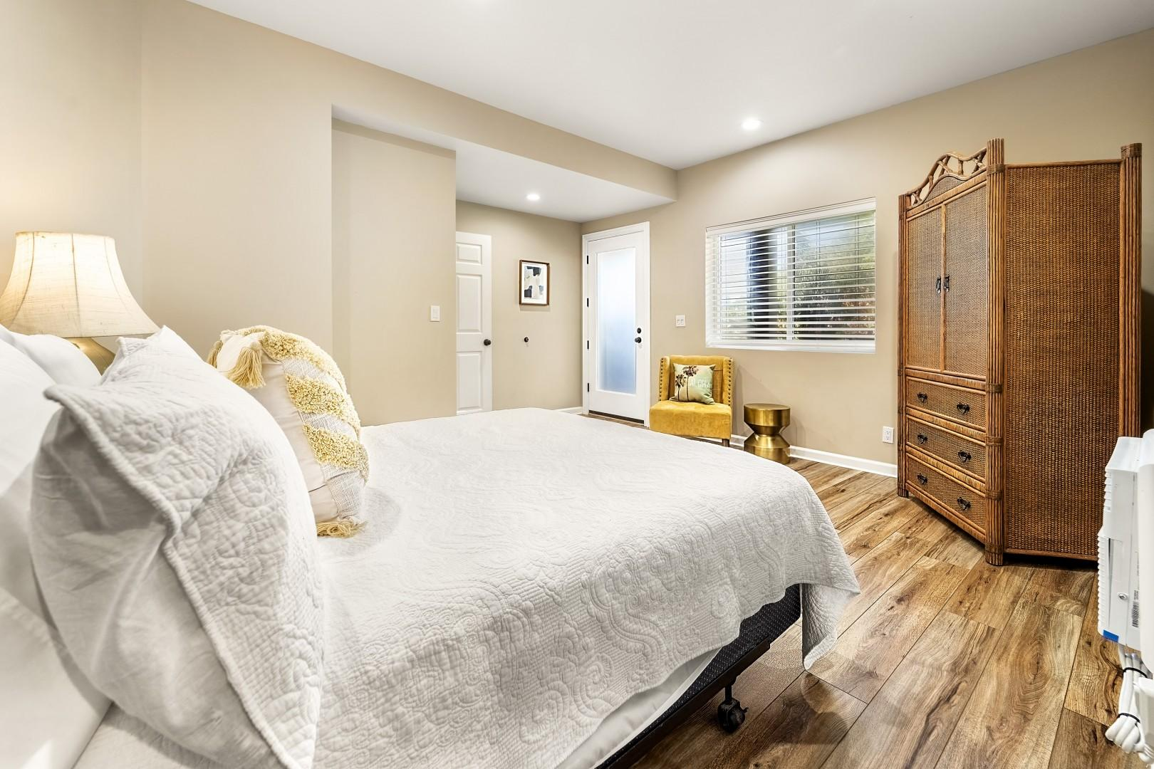 Large bedroom with exterior access