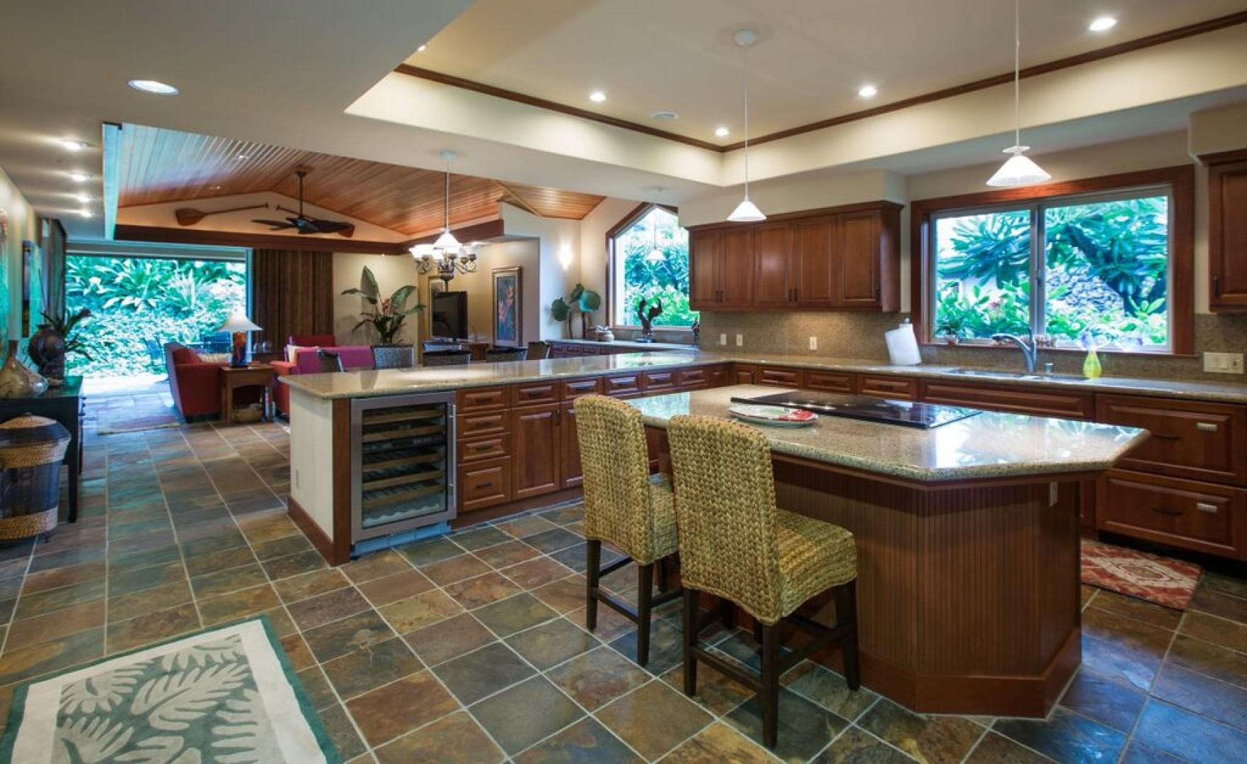 Open floor plan and vaulted ceilings