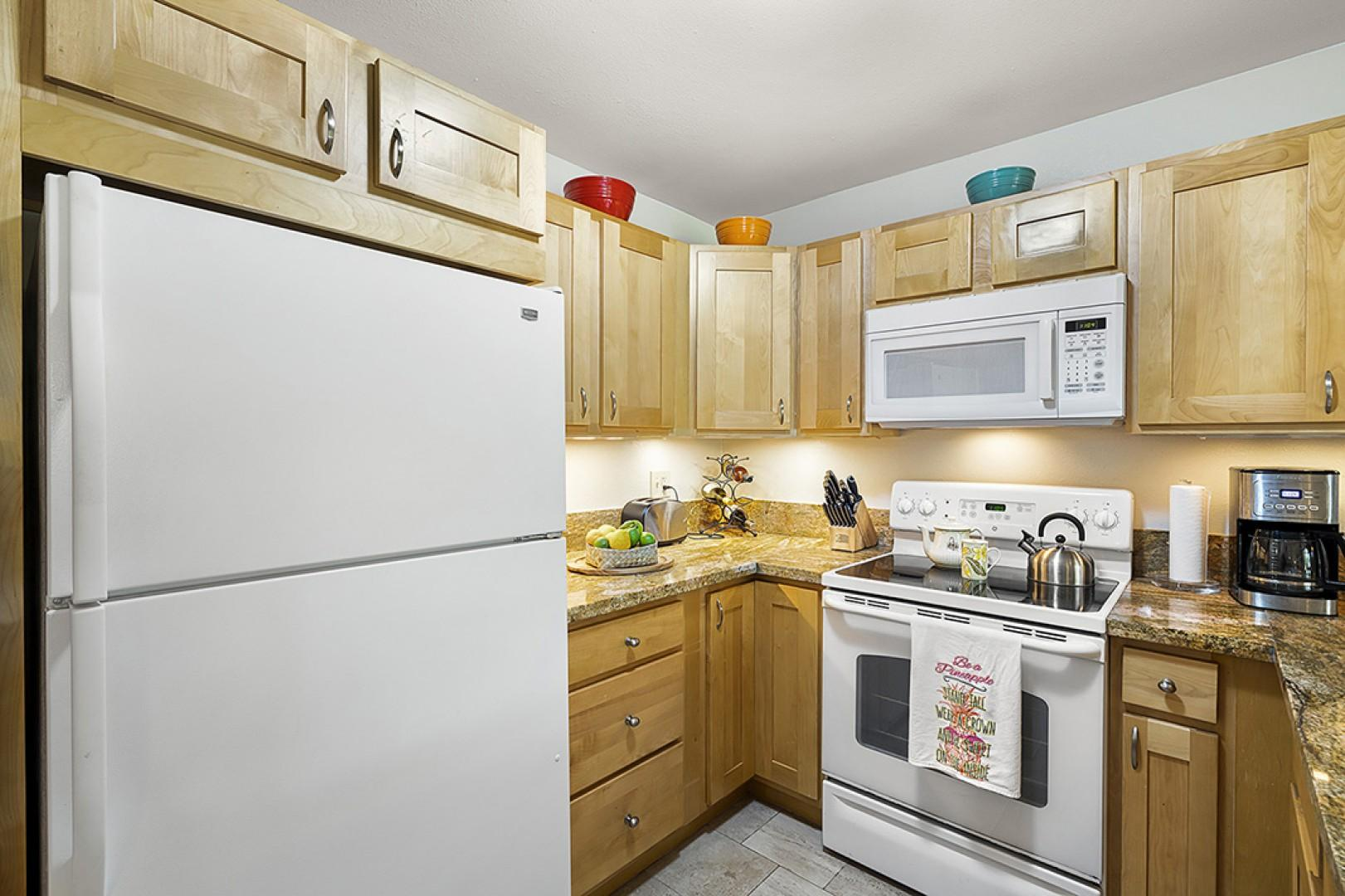 Updated appliances and all the utensils you could need