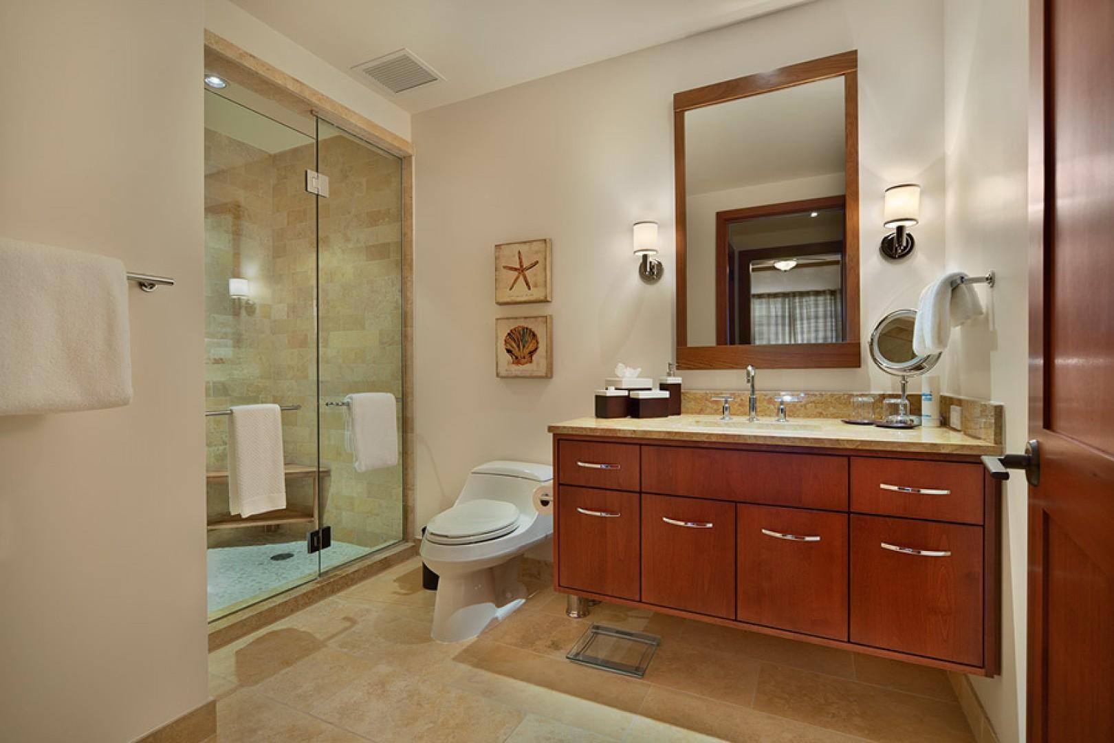 Sea Mist Villa 2403 - Bedroom Three Bath with Glass Enclosed Walk-in Shower, Make up mirror, Hair dryer, Scale