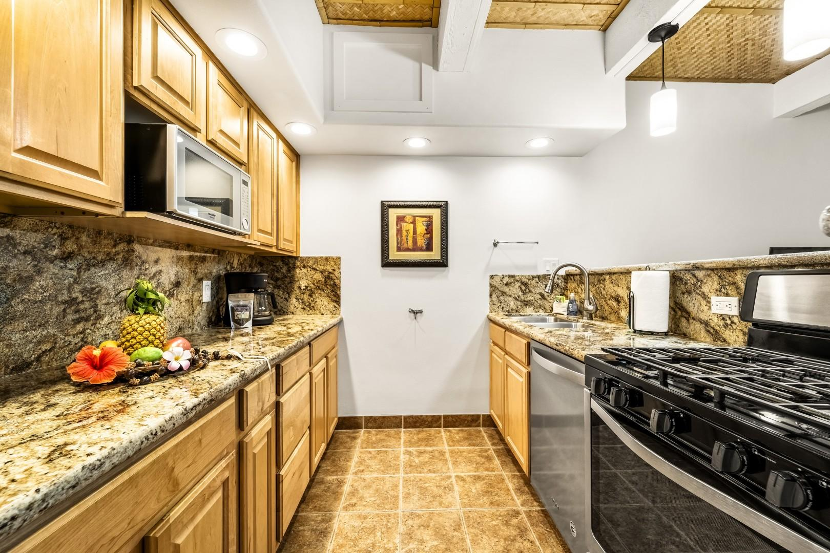 Upgraded galley kitchen for your meal preparation needs