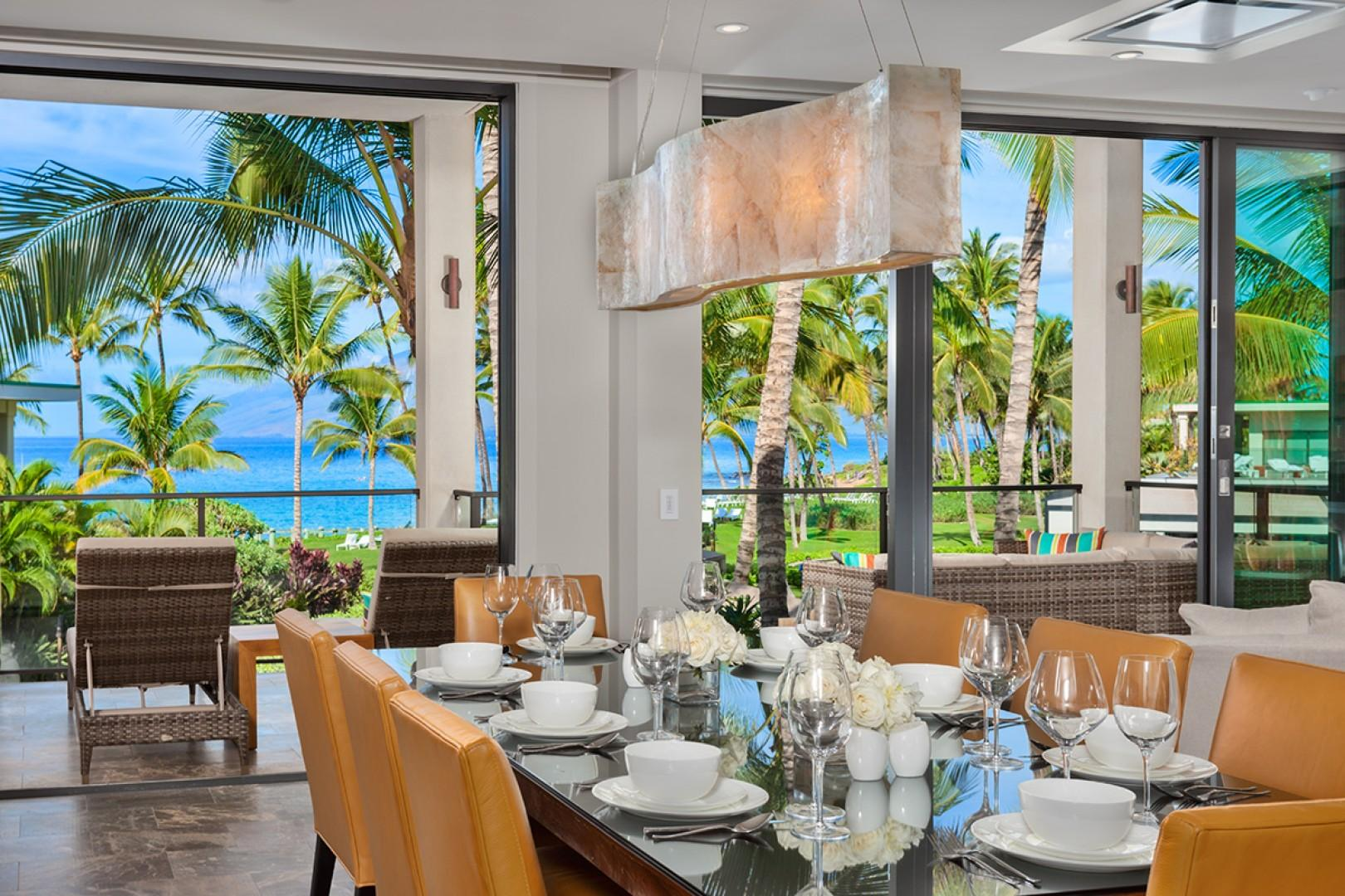 Elegant and Spacious Indoor Ocean View Dining for 8
