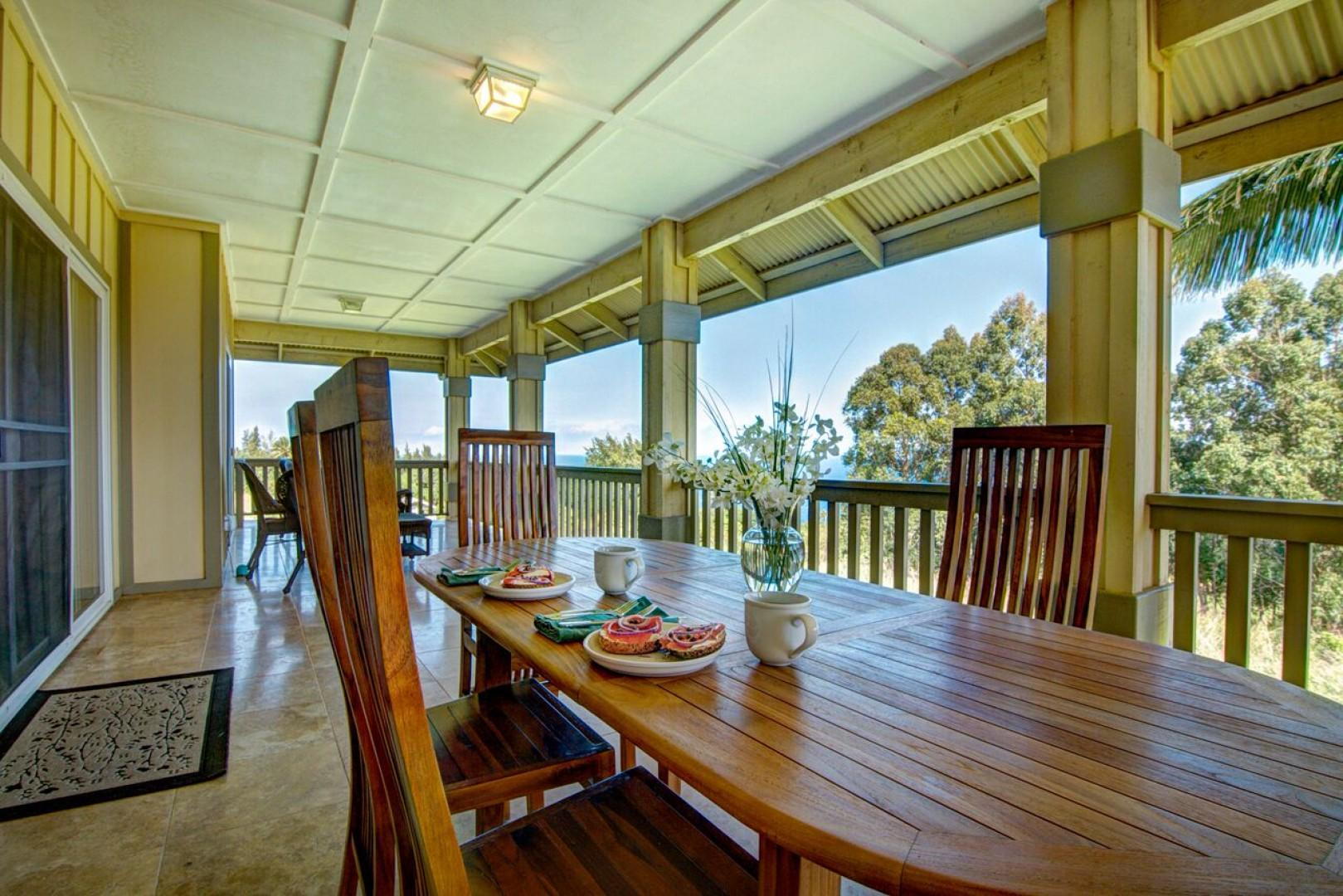 The long back lanai has plenty of room for grilling and eating outside with seating for eight.