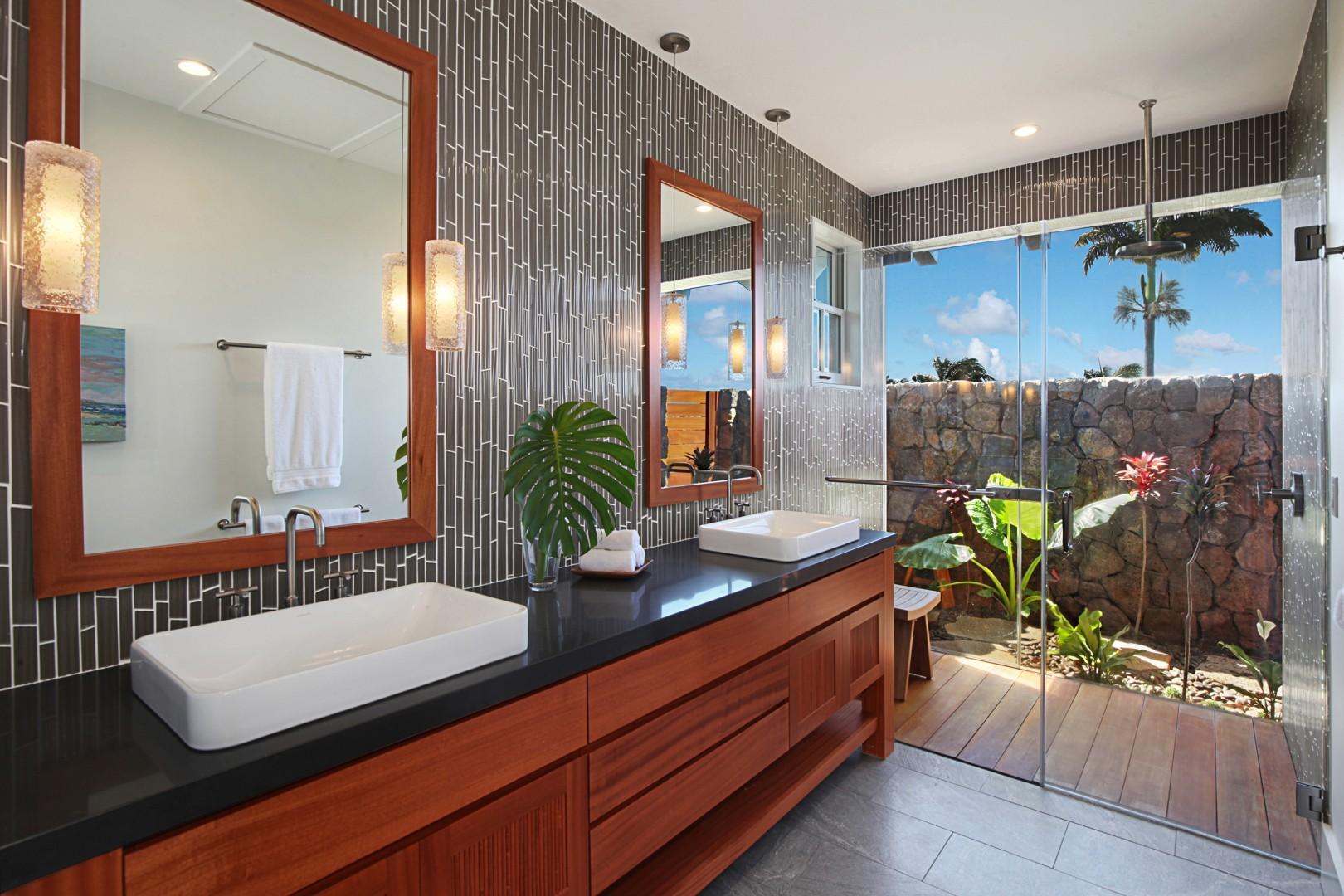 Master Suite bathroom with outdoor lava rock shower