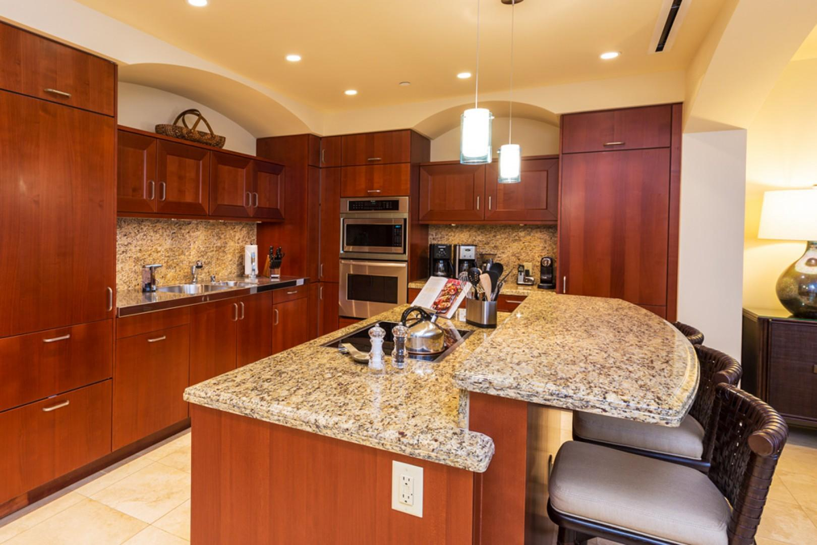 J405 Sea Breeze Suite Fully Equipped Chef Kitchen with Dual Coffee Makers and Abundant Cooking Supplies - All Brand New